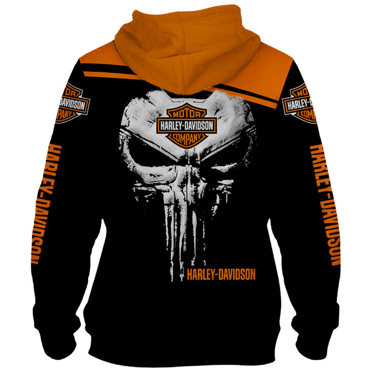 **(OFFICIAL HARLEY DAVIDSON MOTORCYCLE PULLOVER HOODIESCUSTOM DETAILED 3D GRAPHIC PRINTED PUNISHER SKULL DESIGNFEATURING OFFICIAL CUSTOM HARLEY 3D L