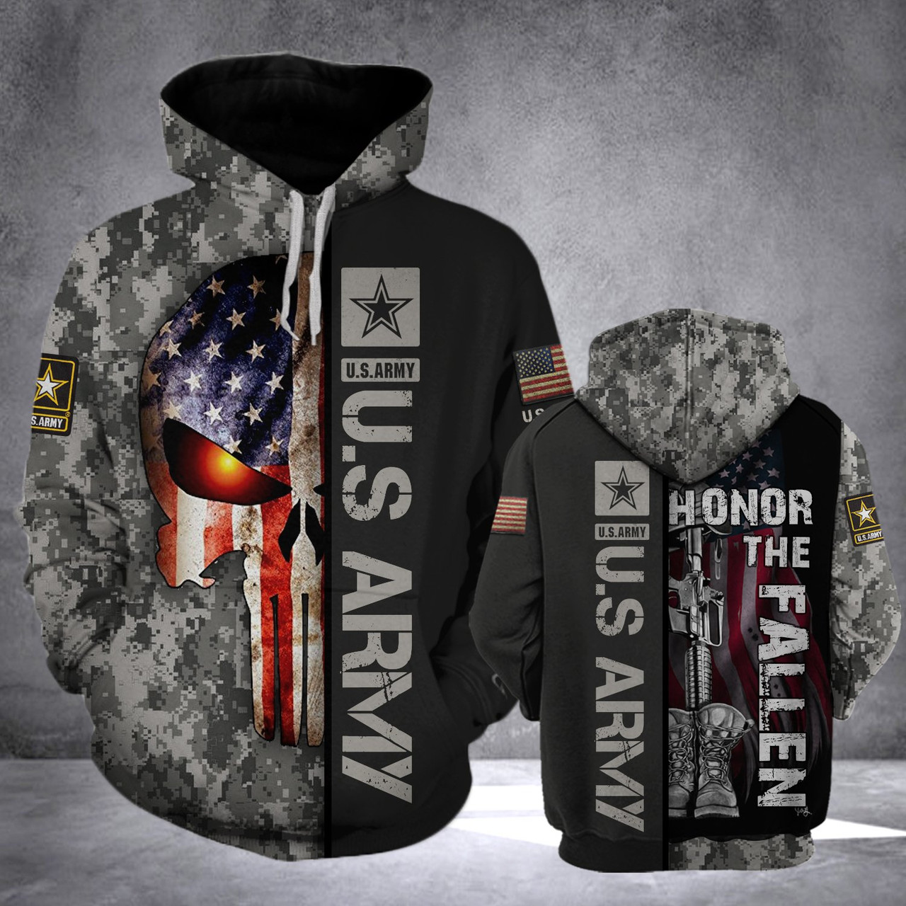 **(OFFICIAL-U.S.ARMY-VETERAN-PULLOVER-HOODIES/CLASSIC-PATRIOTIC-PUNISHER-SKULL & CLASSIC-ARMY-DIGITAL-CAMO.DESIGN & OFFICIAL-ARMY-LOGOS/CUSTOM-3D-DETAILED-GRAPHIC-PRINTED/DOUBLE-SIDED-ALL-OVER-DESIGNED/WARM-PREMIUM-PULLOVER-U.S.ARMY-HOODIES)**