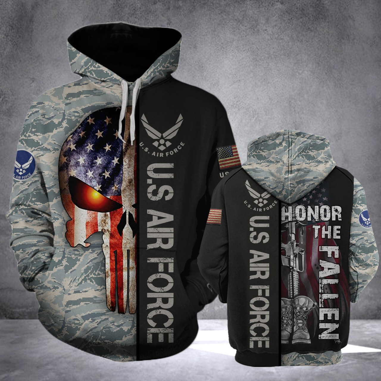 **(OFFICIAL-U.S.AIR-FORCE-VETERAN-PULLOVER-HOODIES/CLASSIC-PATRIOTIC-PUNISHER-SKULL & CLASSIC-DIGITAL-CAMO.DESIGN & OFFICIAL-AIR-FORCE-LOGOS/CUSTOM-3D-DETAILED-GRAPHIC-PRINTED/DOUBLE-SIDED-ALL-OVER-DESIGNED/WARM-PREMIUM-PULLOVER-AIR-FORCE-HOODIES)**