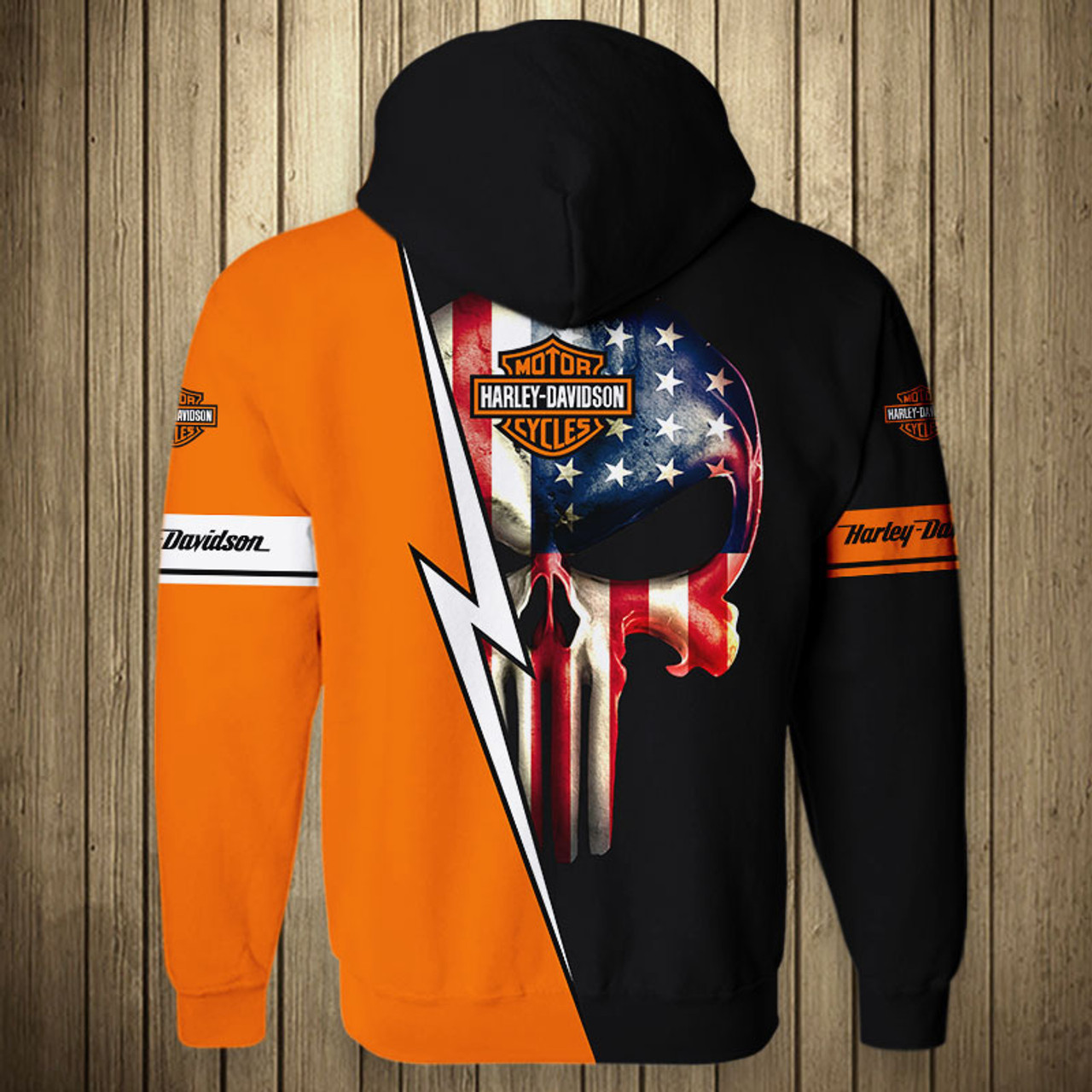 **(OFFICIAL-HARLEY-DAVIDSON-MOTORCYCLE-PULLOVER-HOODIES/CUSTOM-DETAILED-3D-GRAPHIC-PRINTED-CLASSIC-PATRIOTIC-PUNISHER-SKULL-DESIGN/OFFICIAL-CUSTOM-HARLEY-LOGOS & OFFICIAL-CLASSIC-BLACK & ORANGE-HARLEY-COLORS/PREMIUM-HARLEY-RIDING-PULLOVER-HOODIES)**