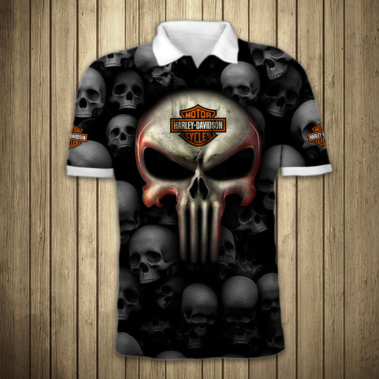 **(OFFICIAL-HARLEY-DAVIDSON-MOTORCYCLE-POLO-SHIRTS & BIG-HARLEY-PUNISHER-SKULL/FEATURING-OFFICIAL-CUSTOM-HARLEY-3D-LOGOS & OFFICIAL-CLASSIC-HARLEY-COLORS/CUSTOM-3D-GRAPHIC-PRINTED-DESIGN/PREMIUM-FASHION-HARLEY-RIDING-BIKER-SPORT-POLO-SHIRTS)**