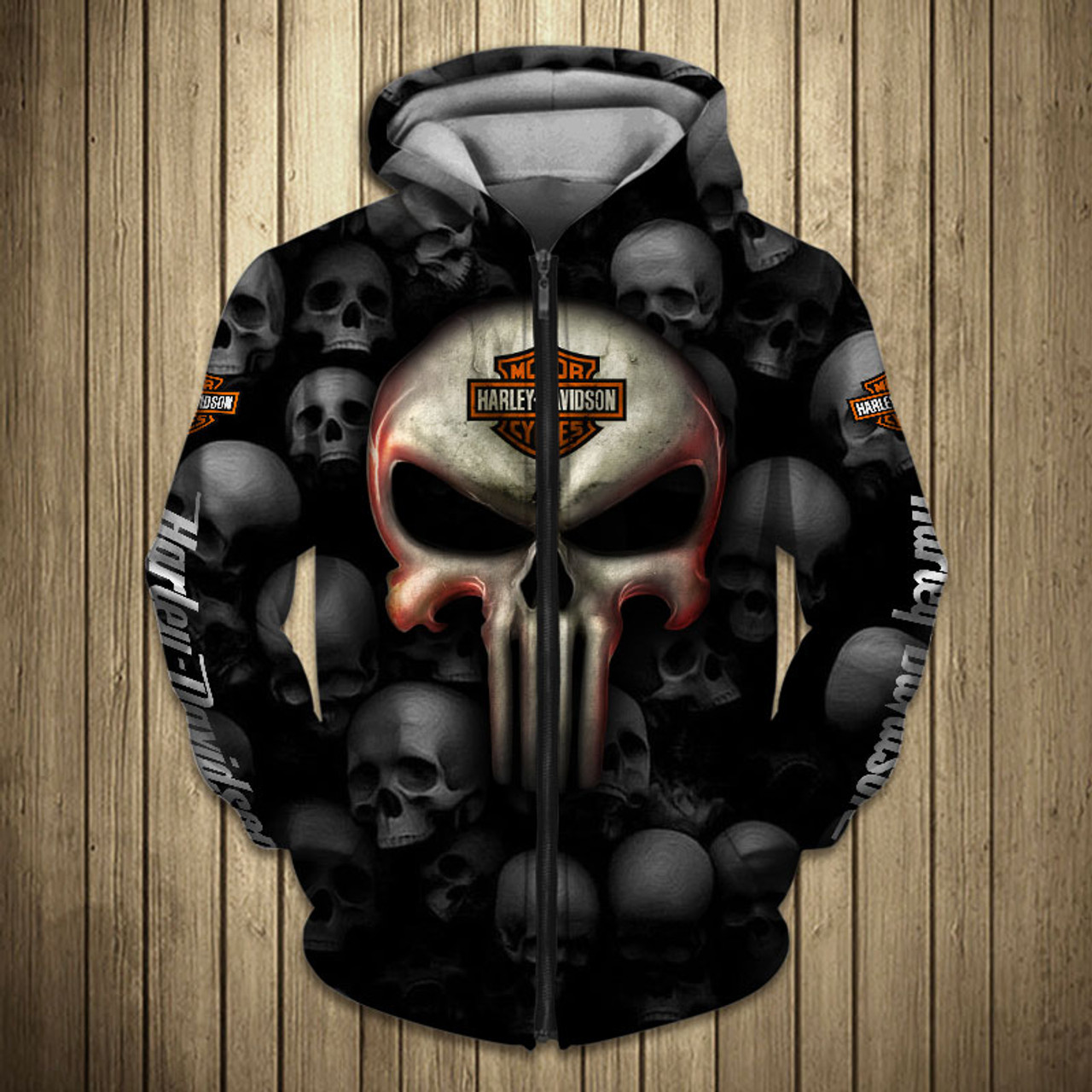 **(OFFICIAL-HARLEY-DAVIDSON-MOTORCYCLE-ZIPPERED-HOODIES & BIG-HARLEY-PUNISHER-SKULL/OFFICIAL-CUSTOM-HARLEY-3D-LOGOS & OFFICIAL-CLASSIC-HARLEY-COLORS/CUSTOM-3D-GRAPHIC-PRINTED-DESIGN/WARM-PREMIUM-FASHION-HARLEY-RIDING-BIKER-ZIPPERED-HOODIES)**