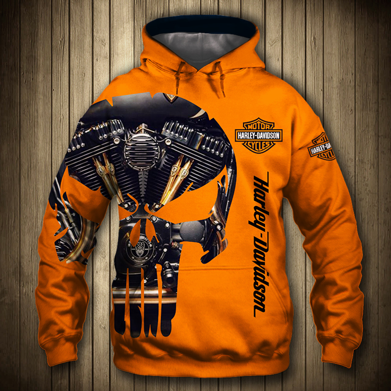 **(OFFICIAL-HARLEY-DAVIDSON-MOTORCYCLE-PULLOVER-HOODIE/CUSTOM-DETAILED-3D-GRAPHIC-PRINTED-PUNISHER-SKULL-ENGINE-DESIGN/FEATURING-OFFICIAL-CUSTOM-HARLEY-3D-LOGOS & OFFICIAL-CLASSIC-HARLEY-ORANGE-COLORS/WARM-PREMIUM-HARLEY-RIDING-PULLOVER-HOODIES)**