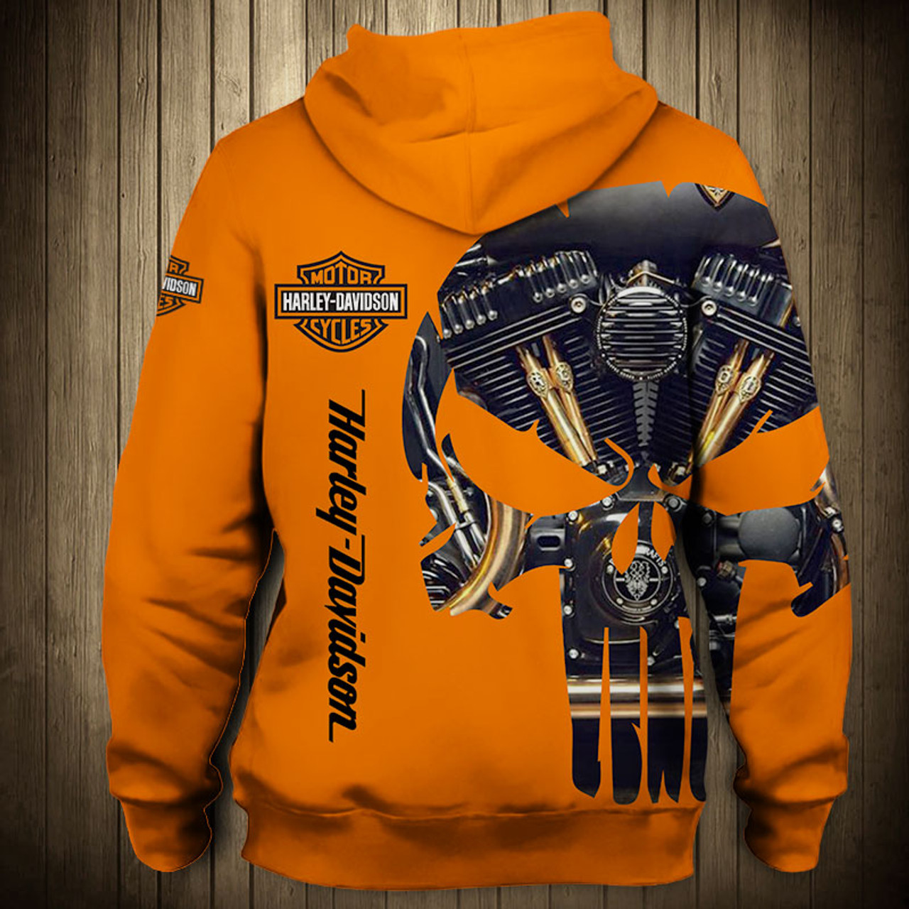 **(OFFICIAL-HARLEY-DAVIDSON-MOTORCYCLE-ZIPPERED-HOODIE/CUSTOM-DETAILED-3D-GRAPHIC-PRINTED-PUNISHER-SKULL-ENGINE-DESIGN/FEATURING-OFFICIAL-CUSTOM-HARLEY-3D-LOGOS & OFFICIAL-CLASSIC-HARLEY-ORANGE-COLORS/WARM-PREMIUM-HARLEY-RIDING-ZIPPERED-HOODIES)**