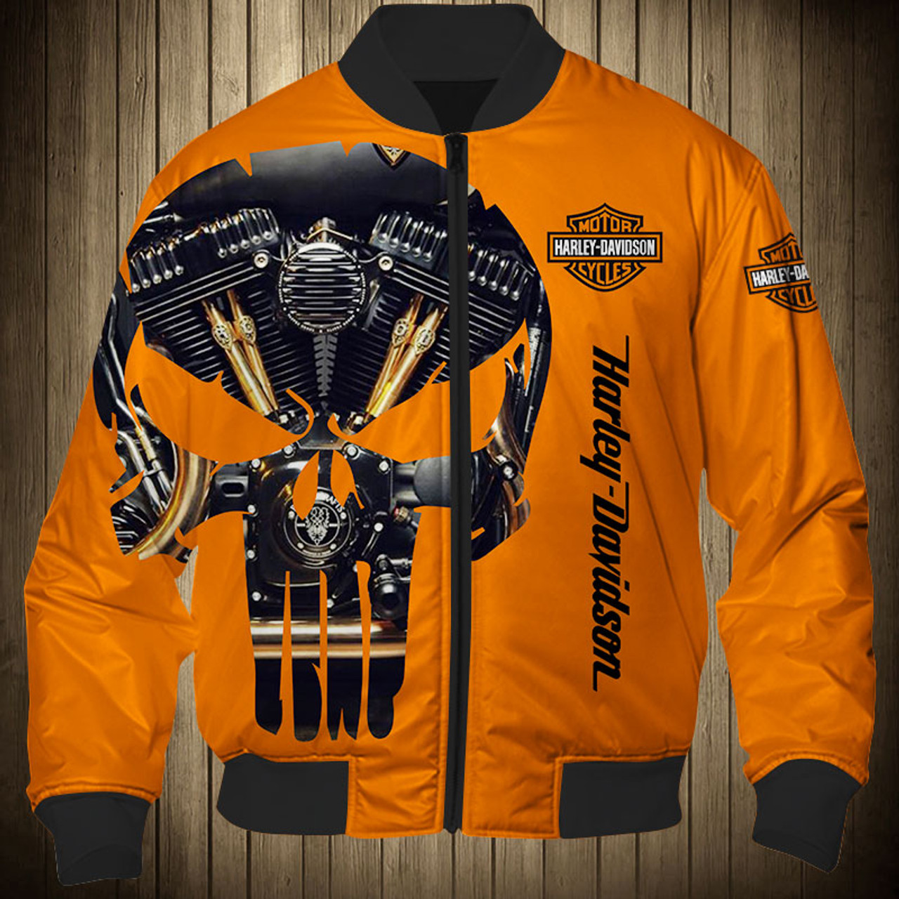 **(OFFICIAL-HARLEY-DAVIDSON-MOTORCYCLE-FLIGHT-JACKET/CUSTOM-DETAILED-3D-GRAPHIC-PRINTED-PUNISHER-SKULL-TWIN-ENGINE-DESIGN/FEATURING-OFFICIAL-CUSTOM-HARLEY-3D-LOGOS & OFFICIAL-CLASSIC-HARLEY-ORANGE-COLORS/WARM-PREMIUM-HARLEY-RIDING-FLIGHT-JACKETS)**
