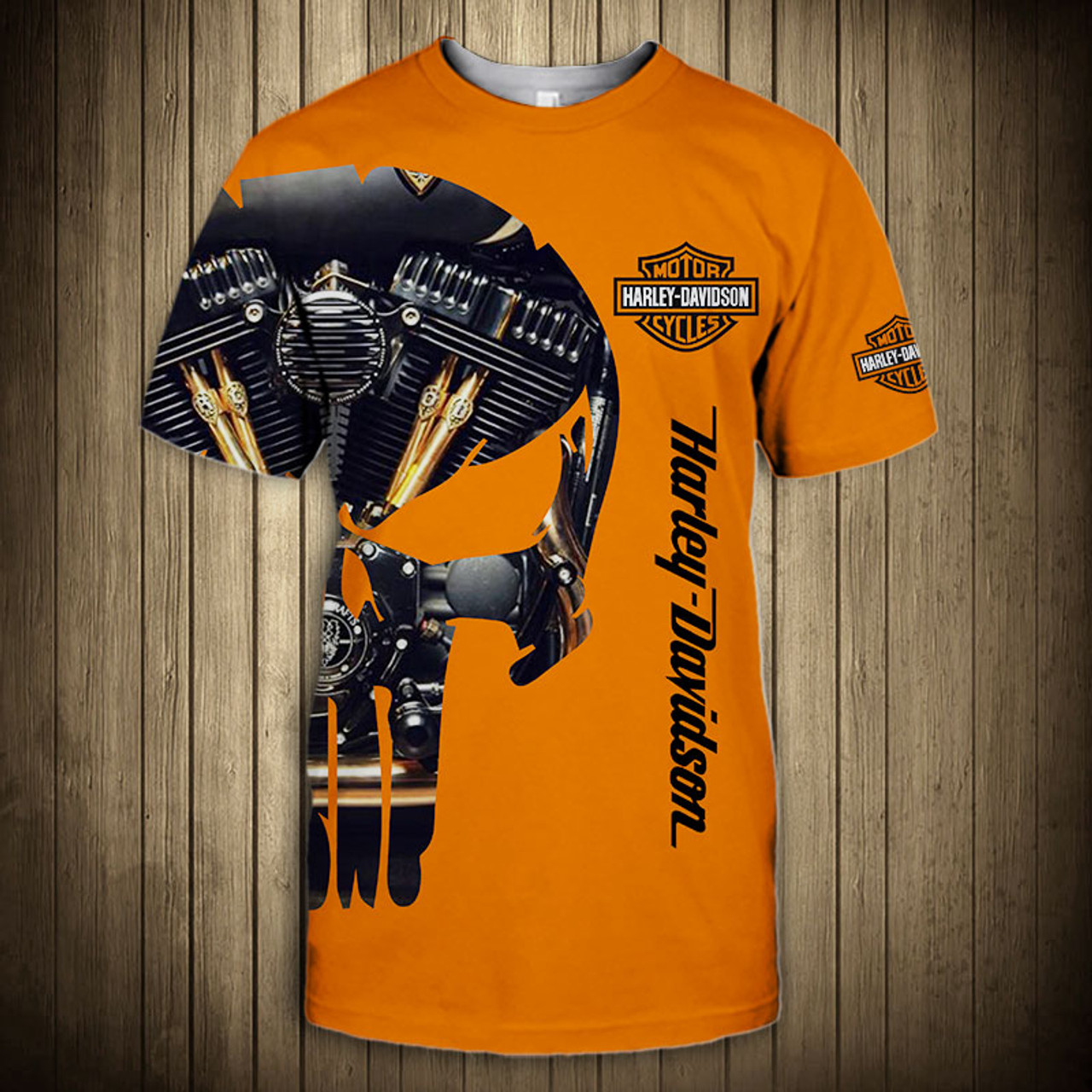 **(OFFICIAL-HARLEY-DAVIDSON-MOTORCYCLE-FASHION-TEES/CUSTOM-DETAILED-3D-GRAPHIC-PRINTED-PUNISHER-SKULL-TWIN-ENGINE-DESIGN/FEATURING-OFFICIAL-CUSTOM-HARLEY-3D-LOGOS & OFFICIAL-CLASSIC-HARLEY-ORANGE-COLORS/WARM-PREMIUM-HARLEY-TRENDY-RIDING-SPORT-TEES)**