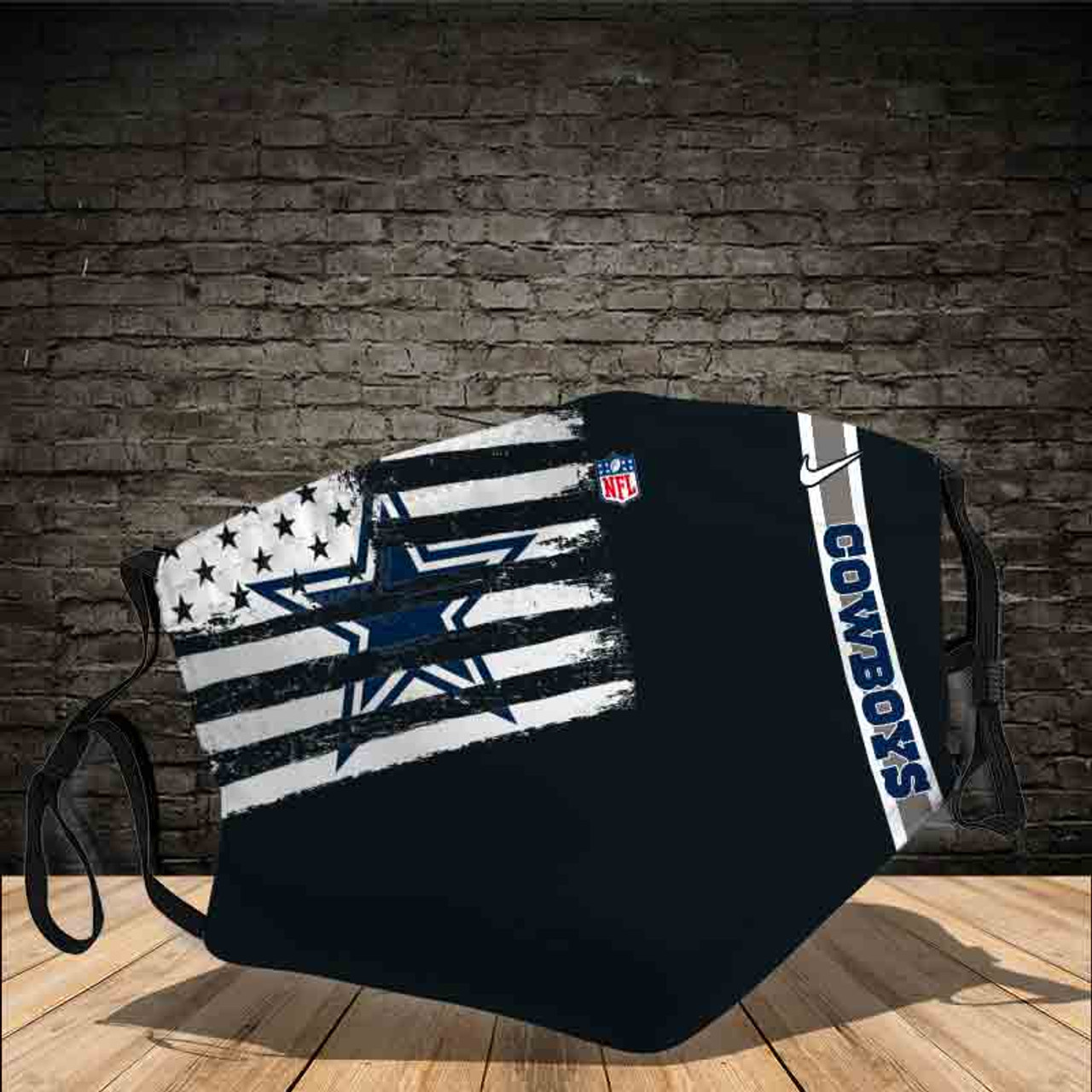 **(OFFICIAL NFL.DALLAS-COWBOYS CUSTOM 3D PRINTED DESIGNS/BREATHABLE PM2.5 FILTER BACTERIA/VIRUS PROOF & ANTI DUST PROOF WITH-ADJUSTABLE TIE-BACKS/REUSABLE-MACHINE-WASHABLE CUSTOM FACE MASKS/WITH ADJUSTABLE-NOSE-CLIPS & INSIDE-5-LAYERED-FILTERS)**