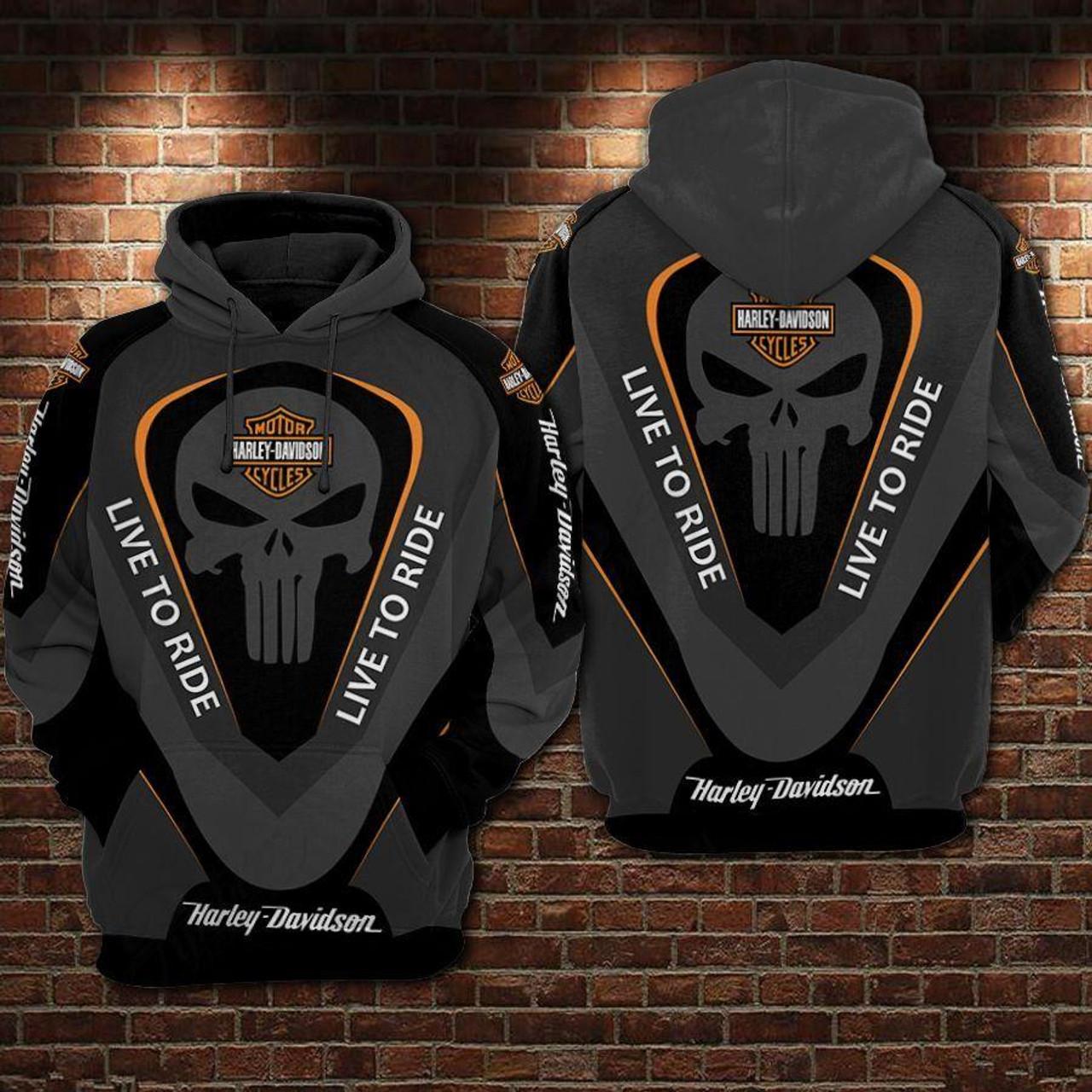 **(OFFICIAL-HARLEY-DAVIDSON-MOTORCYCLE-BIKER-PULLOVER-HOODIES/BIG-CLASSIC-HARLEY-PUNISHER-SKULL & LIVE-TO-RIDE/OFFICIAL-CUSTOM-HARLEY-DAVIDSON-LOGOS & OFFICIAL-CLASSIC-HARLEY-BLACK & ORANGE-COLORS/WARM-PREMIUM-RIDING-HARLEY-BIKERS-PULLOVER-HOODIES)**