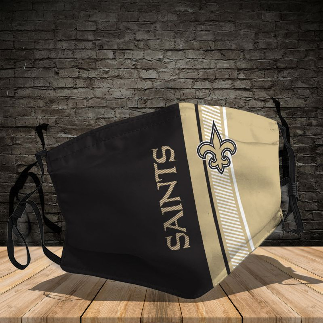 **(OFFICIAL-NEW-ORLEANS-SAINTS-TEAM CUSTOM-3D-PRINTED DESIGNS/BREATHABLE PM2.5 FILTER BACTERIA/VIRUS PROOF & ANTI DUST PROOF WITH-ADJUSTABLE TIE-BACKS/REUSABLE-MACHINE-WASHABLE CUSTOM FACE MASKS/ALL-ADJUSTABLE-NOSE-CLIPS & INSIDE-5-LAYERED-FILTERS)**