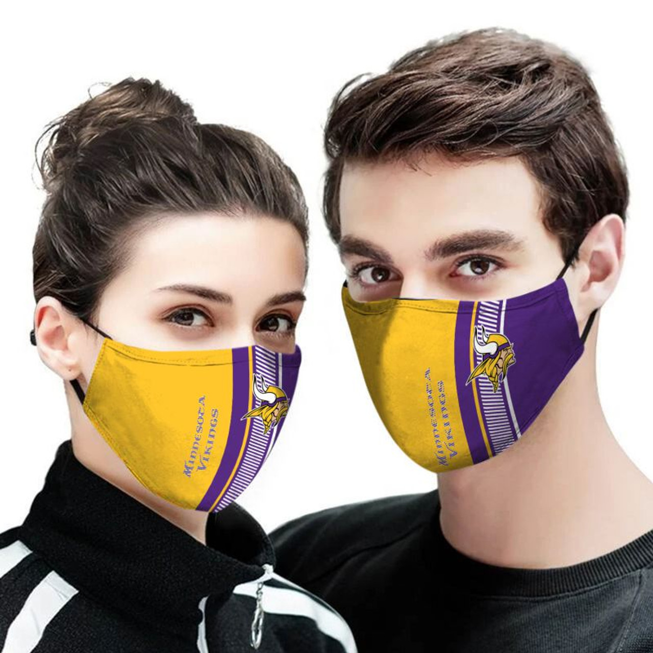 **(OFFICIAL-MINNESOTA-VIKINGS-TEAM CUSTOM-3D-PRINTED DESIGNS/BREATHABLE PM2.5 FILTER BACTERIA/VIRUS PROOF & ANTI DUST PROOF WITH-ADJUSTABLE TIE-BACKS/REUSABLE-MACHINE-WASHABLE CUSTOM FACE MASKS/ALL-ADJUSTABLE-NOSE-CLIPS & INSIDE-5-LAYERED-FILTERS)**