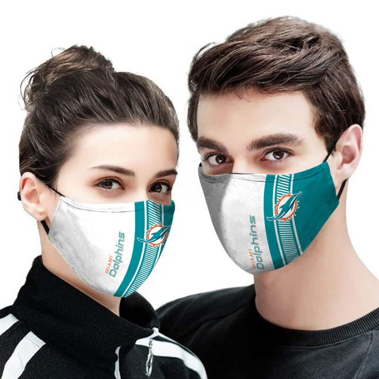 **(OFFICIAL-MIAMI-DOLPHINS-TEAM CUSTOM-3D-PRINTED DESIGNS/BREATHABLE PM2.5 FILTER BACTERIA/VIRUS PROOF & ANTI DUST PROOF WITH-ADJUSTABLE TIE-BACKS/REUSABLE-MACHINE-WASHABLE CUSTOM FACE MASKS/ALL-ADJUSTABLE-NOSE-CLIPS & INSIDE-5-LAYERED-FILTERS)**