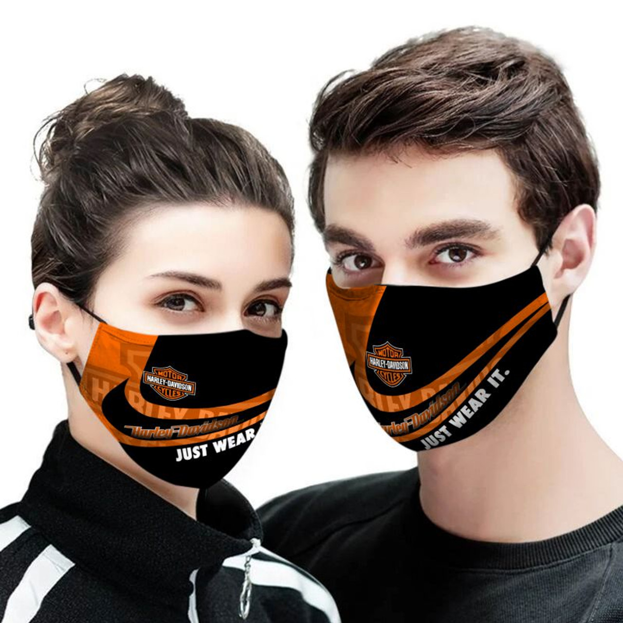 **(OFFICIAL-HARLEY-DAVIDSON-BIKERS-CUSTOM-3D-PRINTED DESIGNS/BREATHABLE PM2.5 FILTER BACTERIA/VIRUS PROOF & ANTI DUST PROOF WITH-ADJUSTABLE TIE-BACKS/REUSABLE-MACHINE-WASHABLE CUSTOM FACE MASKS/ALL-ADJUSTABLE-NOSE-CLIPS & INSIDE-5-LAYERED-FILTERS)**