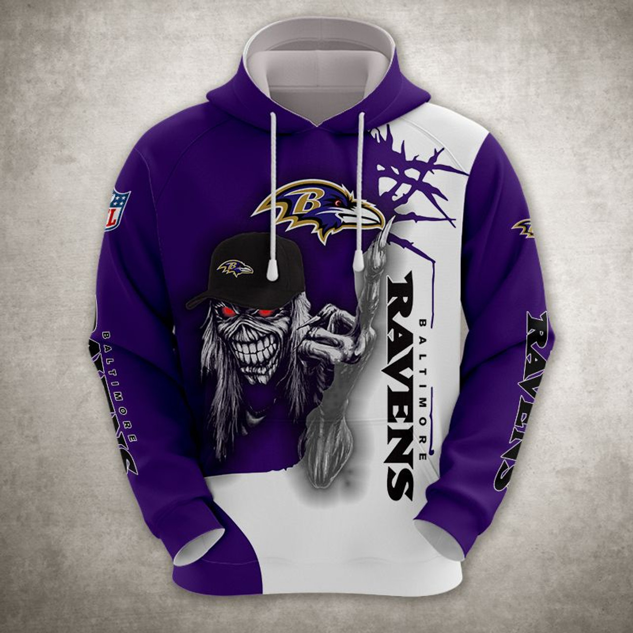 **(OFFICIAL-N.F.L.BALTIMORE-RAVENS-TRENDY-PULLOVER-HOODIE & RAVENS-MUMMIFIED-SKELETON/NICE-CUSTOM-3D-EFFECT-GRAPHIC-PRINTED-ALL-OVER-DOUBLE-SIDED-DESIGNED/OFFICIAL-RAVENS-TEAM-COLORS & OFFICIAL-RAVENS-TEAM-LOGOS/WARM-PREMIUM-PULLOVER-HOODIES)**