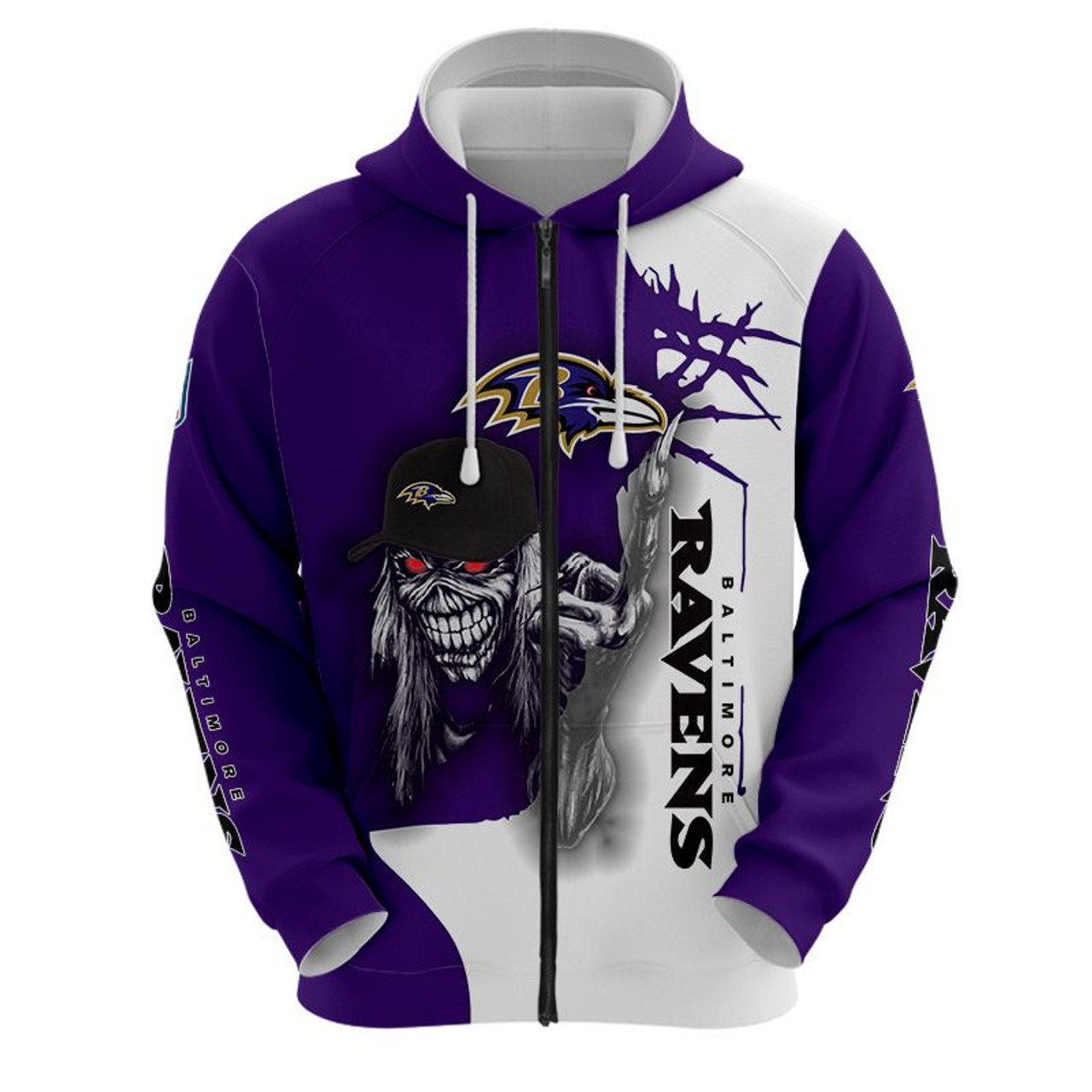 **(OFFICIAL-N.F.L.BALTIMORE-RAVENS-TRENDY-ZIPPERED-HOODIE & BIG-RAVENS-MUMMIFIED-SKELETON/NICE-CUSTOM-3D-EFFECT-GRAPHIC-PRINTED-ALL-OVER-DOUBLE-SIDED-DESIGNED/OFFICIAL-RAVENS-TEAM-COLORS & OFFICIAL-RAVENS-TEAM-LOGOS/WARM-PREMIUM-ZIPPERED-HOODIES)**
