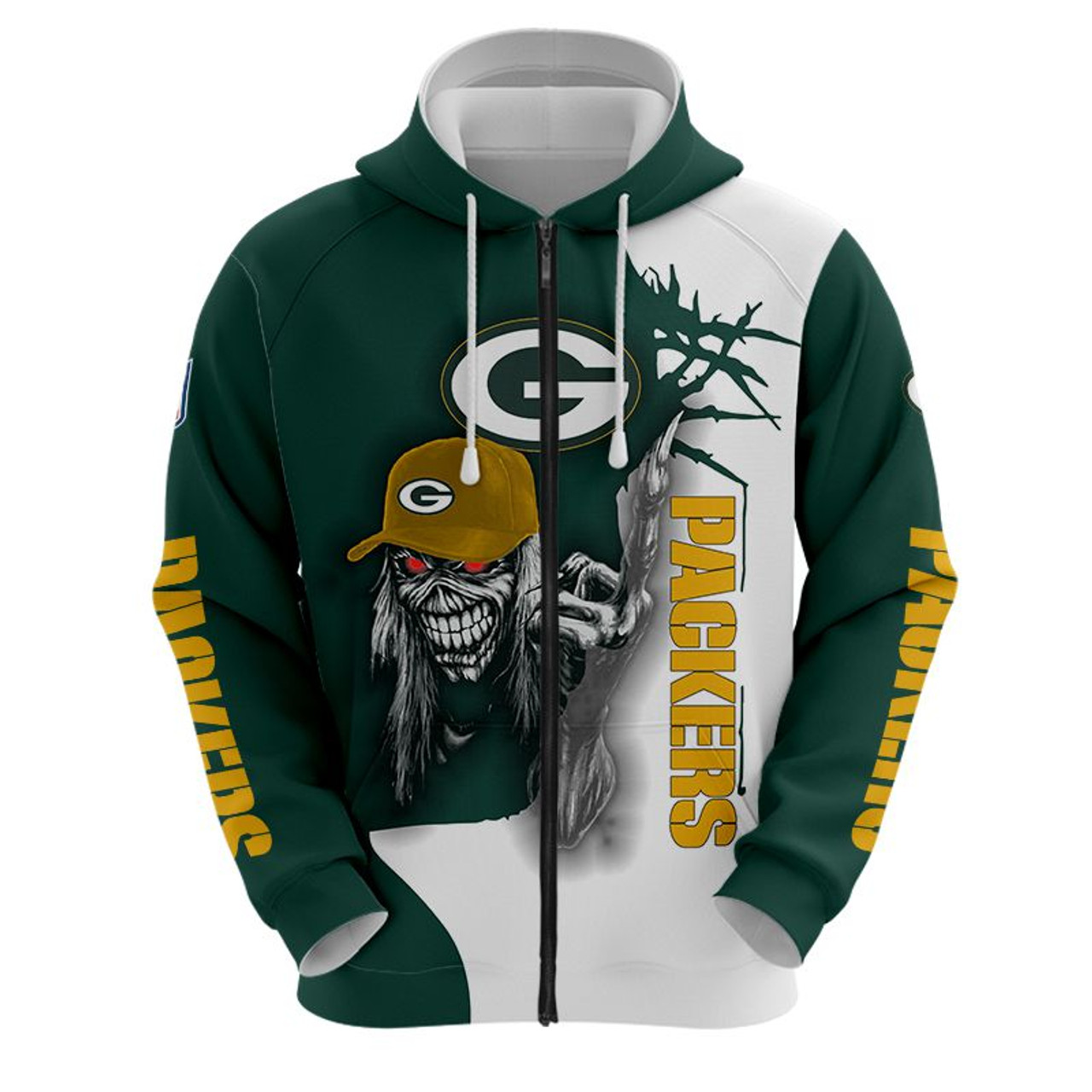 **(OFFICIAL-N.F.L.GREEN-BAY-PACKERS-TRENDY-ZIPPERED-HOODIE & PACKERS-MUMMIFIED-SKELETON/NICE-CUSTOM-3D-EFFECT-GRAPHIC-PRINTED-ALL-OVER-DOUBLE-SIDED-DESIGNED/OFFICIAL-PACKERS-TEAM-COLORS & OFFICIAL-PACKERS-TEAM-LOGOS/WARM-PREMIUM-ZIPPERED-HOODIES)**