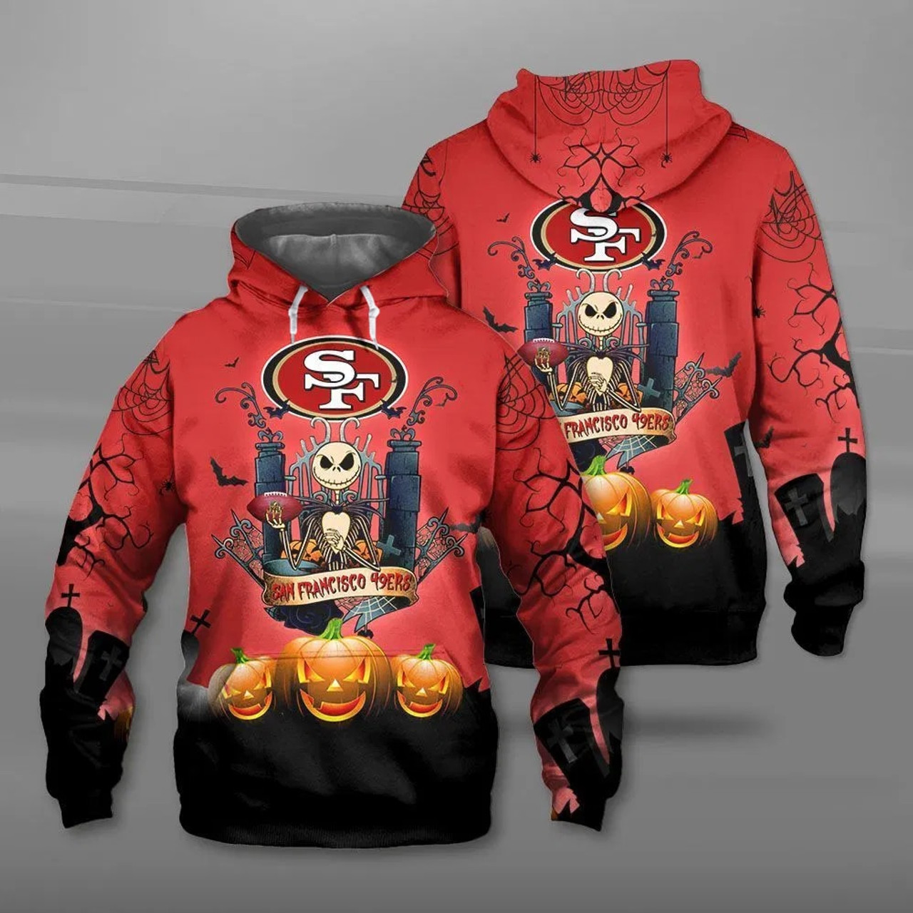 **(NEW-OFFICIAL-N.F.L.SAN-FRANCISCO-49ERS-PULLOVER-HOODIES & CLASSIC-JACK-SKELLINGTON-ANIMATED-HORROR-CHARACTER/3D-CUSTOM-49ERS-LOGOS & OFFICIAL-49ERS-TEAM-COLORS/ALL-OVER-ENTIRE-HOODIE-PRINTED-DESIGN/TRENDY-WARM-PREMIUM-49ERS-PULLOVER-HOODIES)**