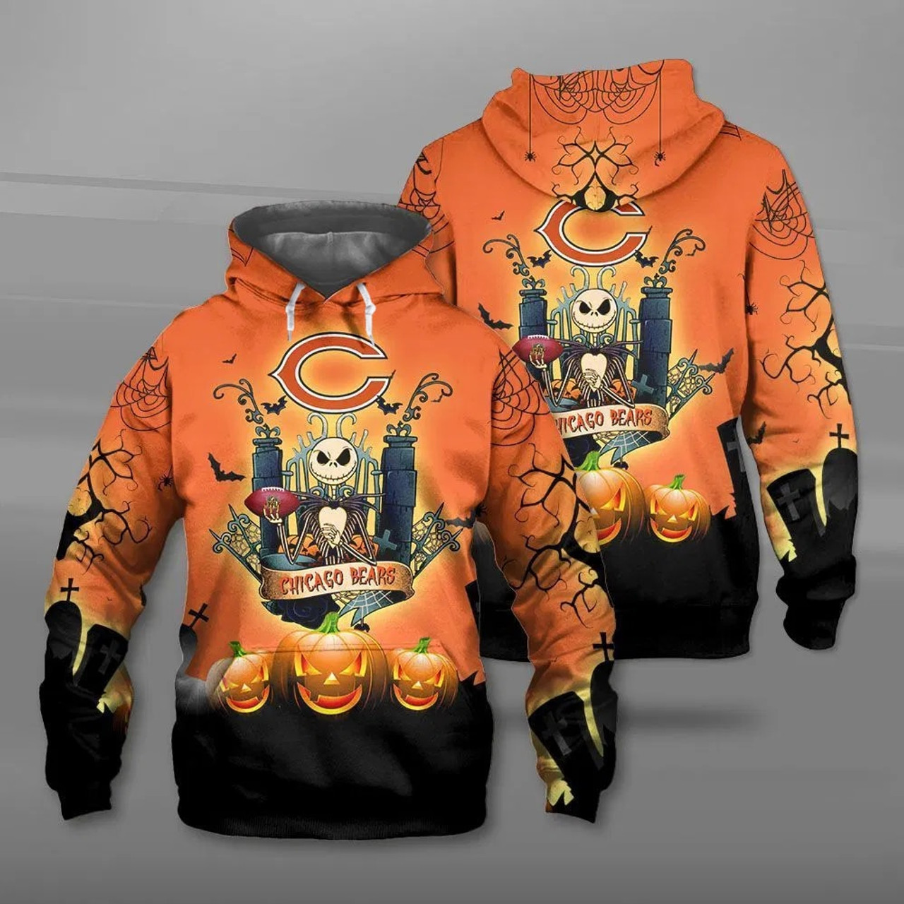**(OFFICIAL-N.F.L.CHICAGO-BEARS-PULLOVER-HOODIES & CLASSIC-JACK-SKELLINGTON-ANIMATED-HORROR-CHARACTER/OFFICIAL-BEARS-TEAM-LOGOS & OFFICIAL-BEARS-TEAM-COLORS/ALL-OVER-CUSTOM-GRAPHIC-3D-PRINTED-DESIGN/TRENDY-WARM-PREMIUM-BEARS-PULLOVER-HOODIES)**
