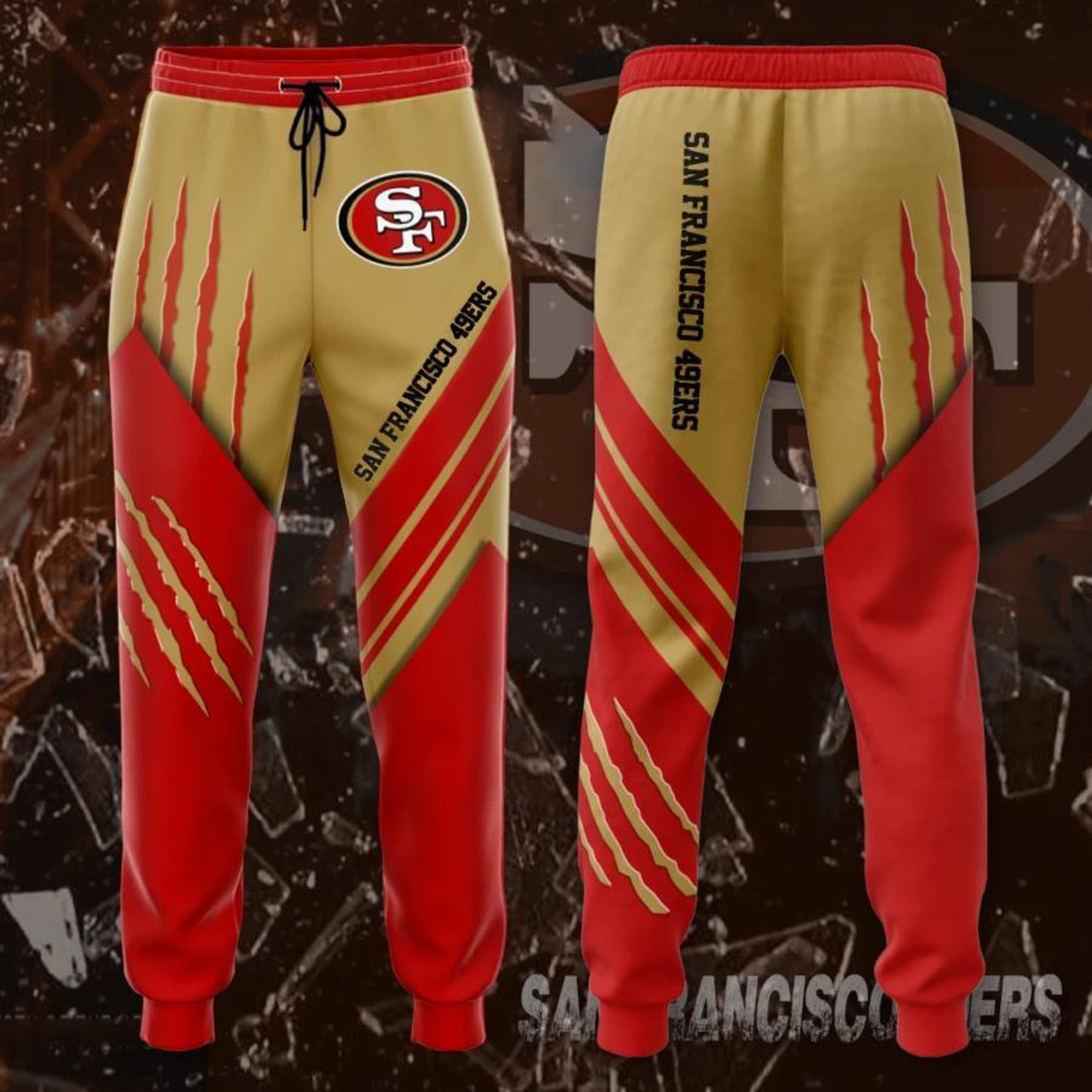 **(OFFICIAL-N.F.L.SAN-FRANCISCO-49ERS-TRENDY-TEAM-SPORT-SWEAT-PANTS & OFFICIAL-49ERS-TEAM-LOGOS & OFFICIAL-CLASSIC-49ERS-TEAM-COLORS/CUSTOM-DETAILED-3D-GRAPHIC-DOUBLE-SIDED-PRINTED/WARM-PREMIUM-TRENDY-49ERS-TEAM/FASHION-GAME-DAY-WINTER-SWEAT-PANTS)**