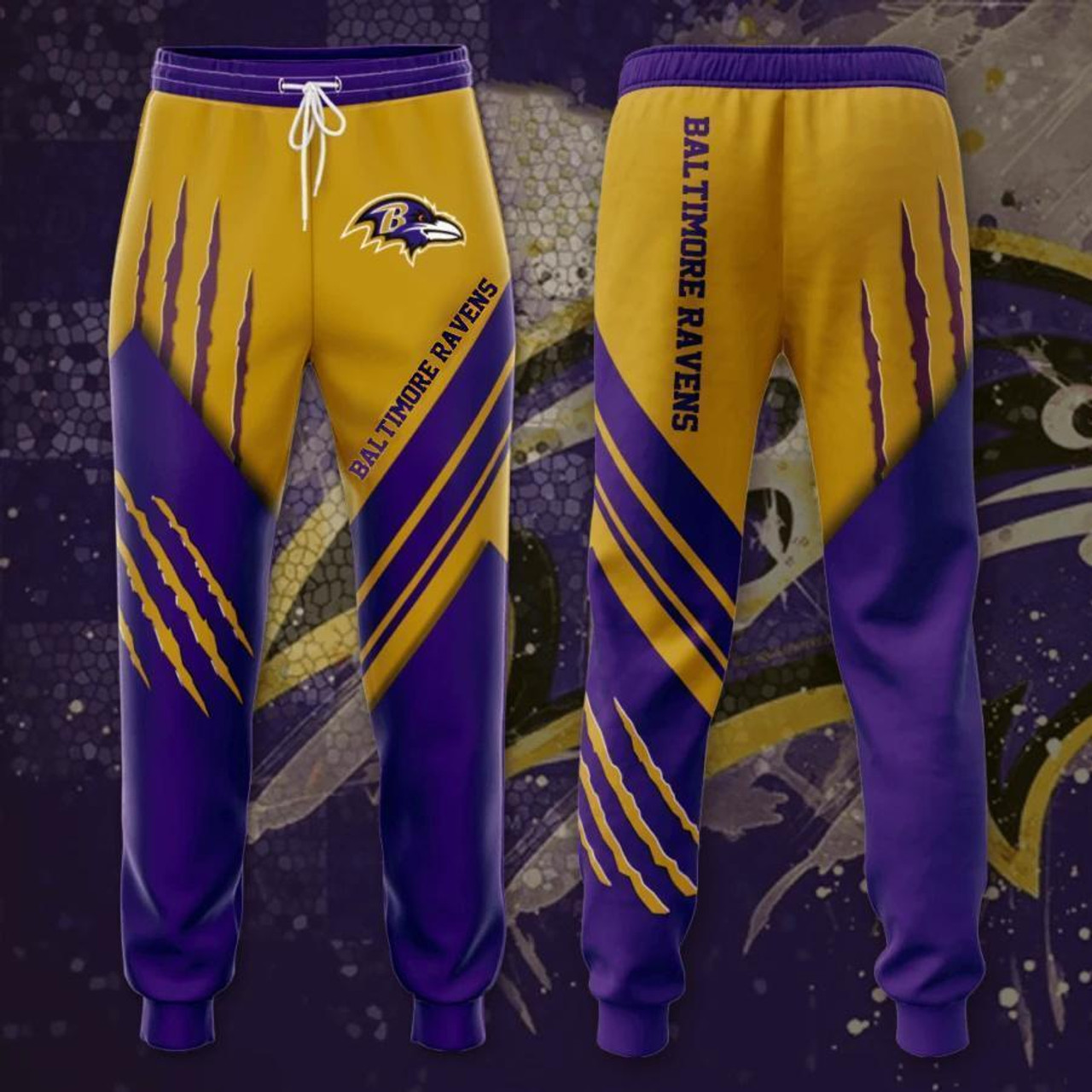 **(OFFICIAL-N.F.L.BALTIMORE-RAVENS-TRENDY-TEAM-SPORT-SWEAT-PANTS & OFFICIAL-RAVENS-TEAM-LOGOS & OFFICIAL-CLASSIC-RAVENS-TEAM-COLORS/DETAILED-CUSTOM-3D-GRAPHIC-DOUBLE-SIDED-PRINTED/WARM-PREMIUM-TRENDY-RAVENS-FASHION-GAME-DAY-TEAM-SWEAT-PANTS)**