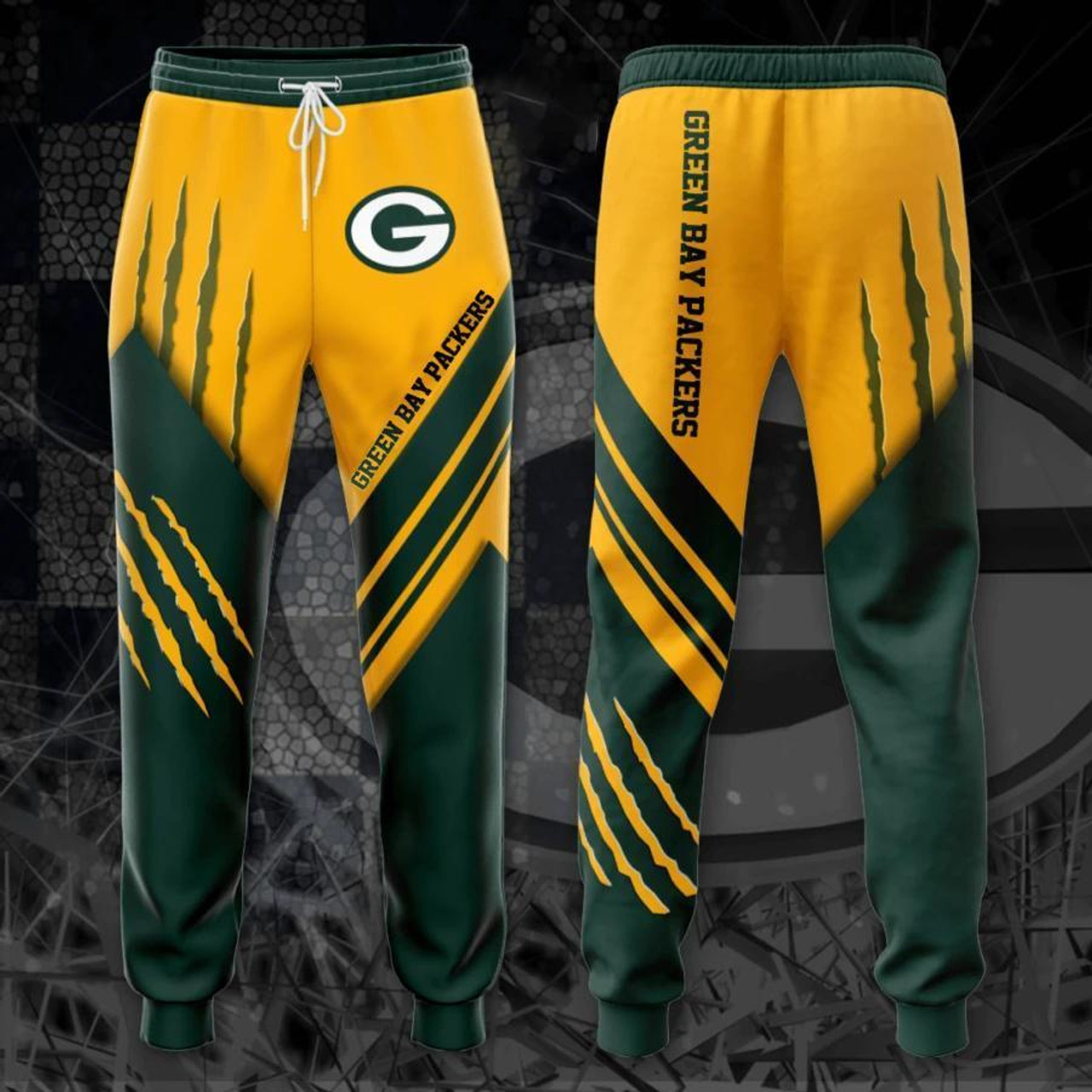 **(OFFICIAL-N.F.L.GREEN-BAY-PACKERS-TRENDY-TEAM-SPORT-SWEAT-PANTS & OFFICIAL-PACKERS-TEAM-LOGOS & OFFICIAL-CLASSIC-PACKERS-TEAM-COLORS/DETAILED-CUSTOM-3D-GRAPHIC-DOUBLE-SIDED-PRINTED/WARM-PREMIUM-TRENDY-PACKERS-FASHION-GAME-DAY-TEAM-SWEAT-PANTS)**