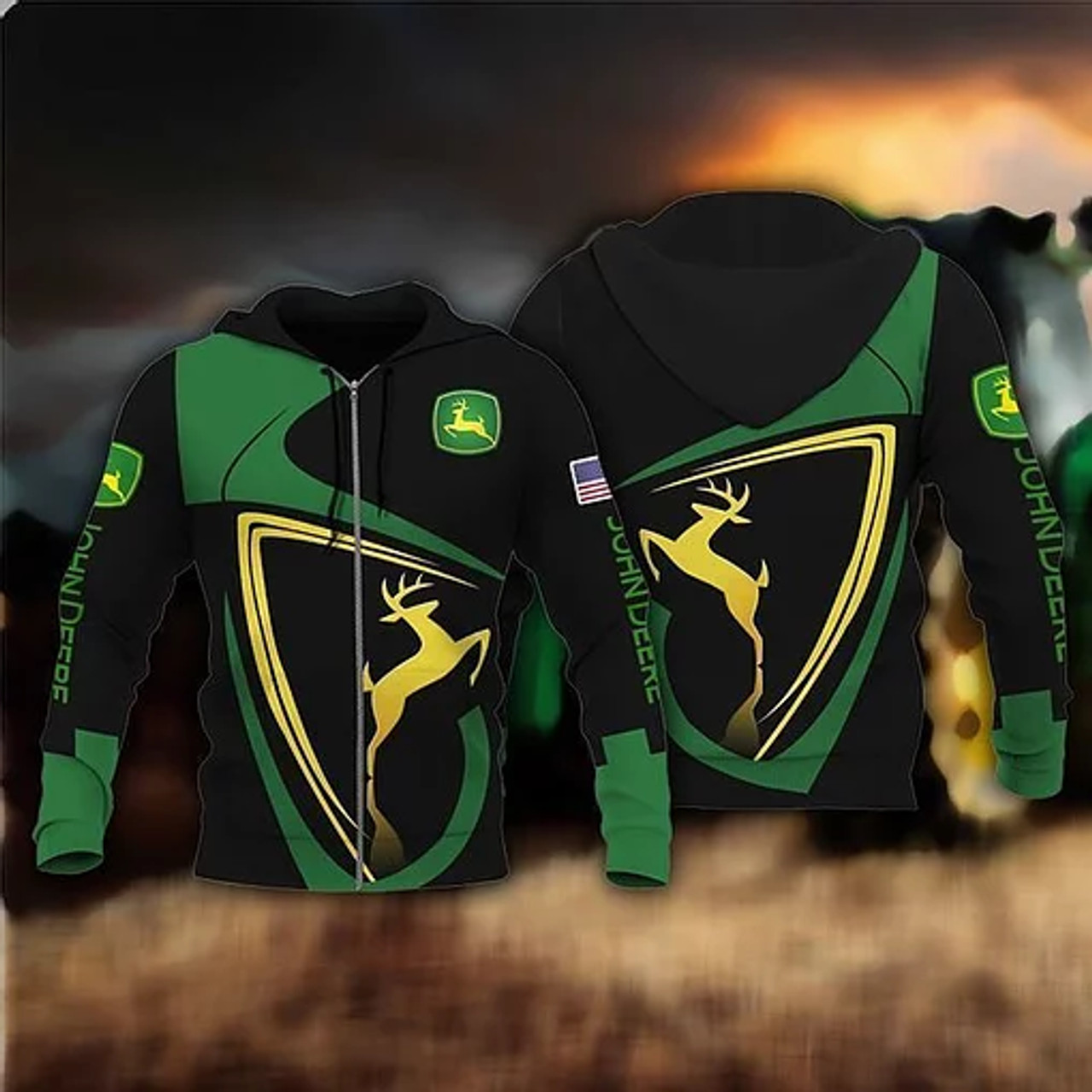 - OFFICIAL-JOHN-DEERE-ZIPPERED-HOODIE/TRENDY-NEW-CUSTOMIZED-3D-PRINTED-GRAPHIC-PRINTED-DESIGN-APPAREL!!