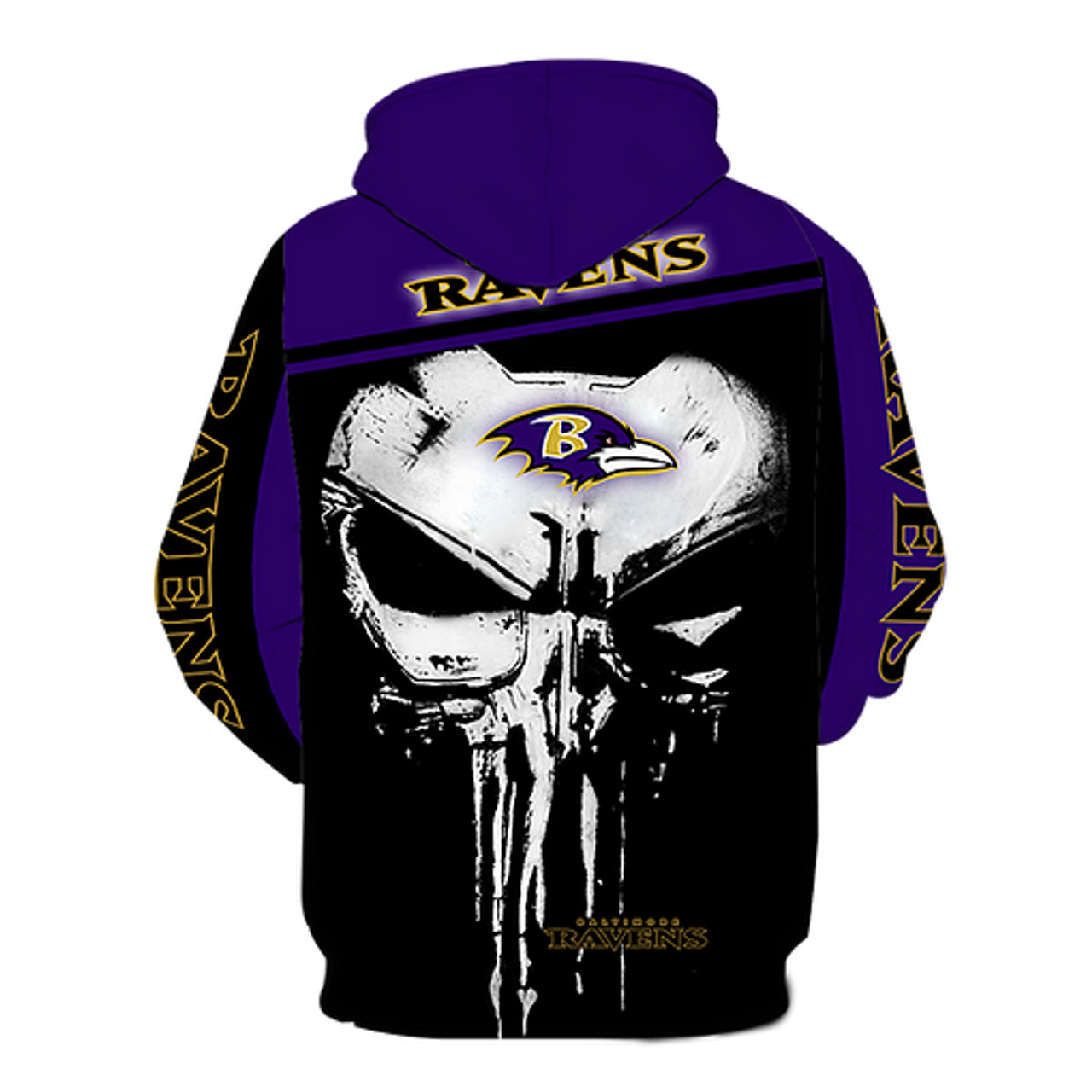 OFFICIAL-N.F.L.BALTIMORE-RAVENS-PULLOVER-HOODIES/CUSTOM-3-D-GRAPHIC-PRINTED-PUNISHER-SKULL!