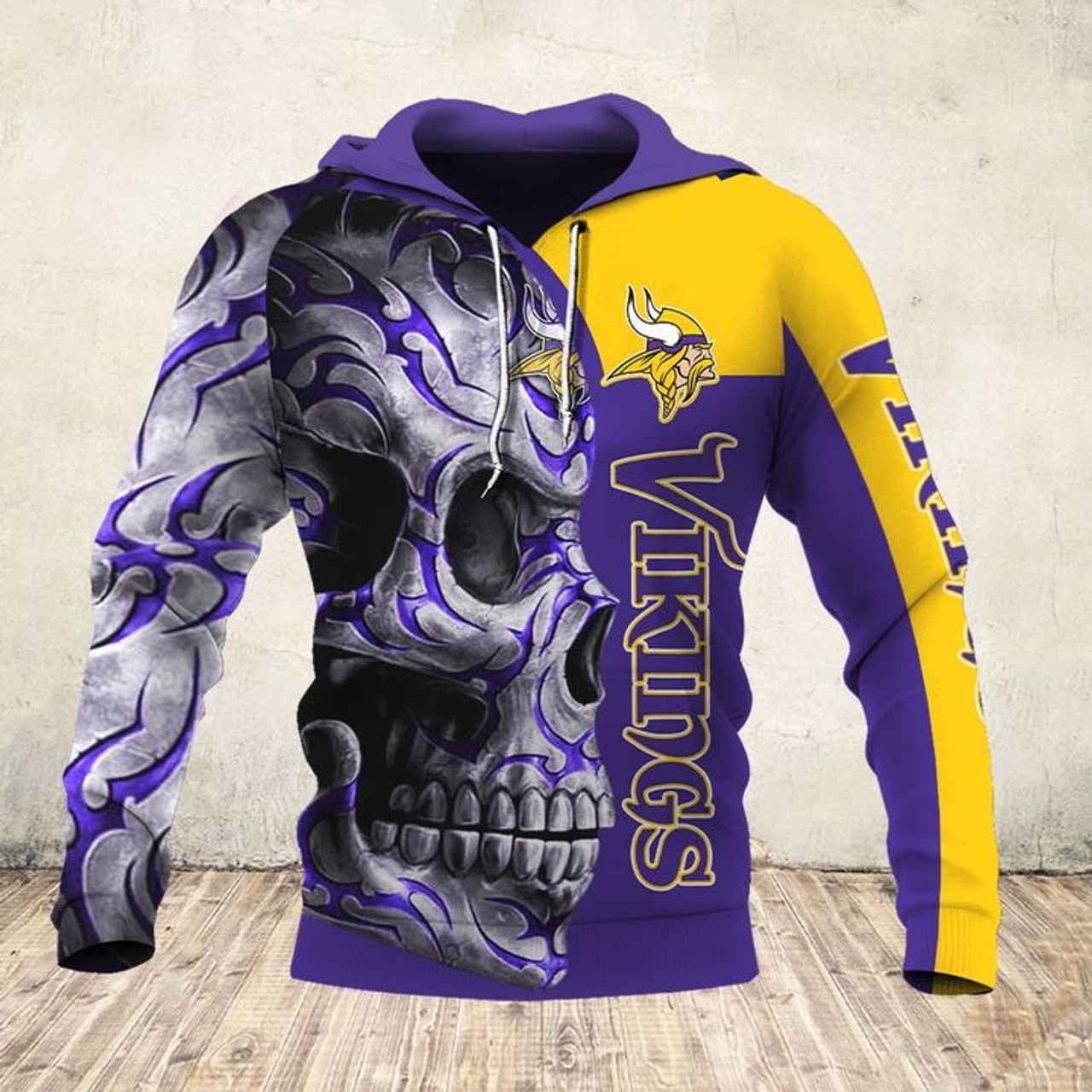 **(OFFICIAL-N.F.L.MINNESOTA-VIKINGS-PULLOVER-HOODIES & BIG-VIKINGS-TEAM-TRIBAL-SKULL/CUSTOM-3D-GRAPHIC-PRINTED-ALL-OVER-DOUBLE-SIDED-OFFICIAL-VIKINGS-TEAM-LOGOS & OFFICIAL-VIKINGS-TEAM-COLORS/WARM-PREMIUM-TRENDY-TEAM-DEEP-POCKET-PULLOVER-HOODIES)**