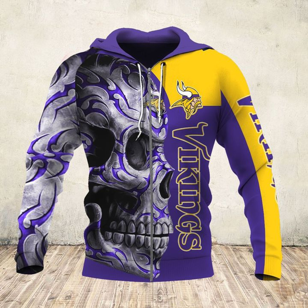**(OFFICIAL-N.F.L.MINNESOTA-VIKINGS-ZIPPERED-HOODIES & BIG-VIKINGS-TEAM-TRIBAL-SKULL/CUSTOM-3D-GRAPHIC-PRINTED-ALL-OVER-DOUBLE-SIDED-OFFICIAL-VIKINGS-TEAM-LOGOS & OFFICIAL-VIKINGS-TEAM-COLORS/WARM-PREMIUM-TRENDY-TEAM-DEEP-POCKET-ZIPPERED-HOODIES)**