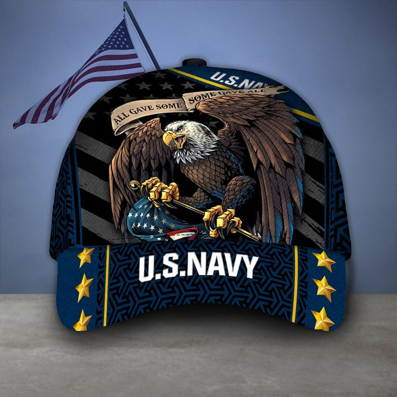 **(OFFICIAL-U.S.NAVY-VETERANS-HATS/CUSTOM-3D-GRAPHIC-PRINTED-PATRIOTIC-BIG-WINGED-BALD-EAGLE-DESIGN)**