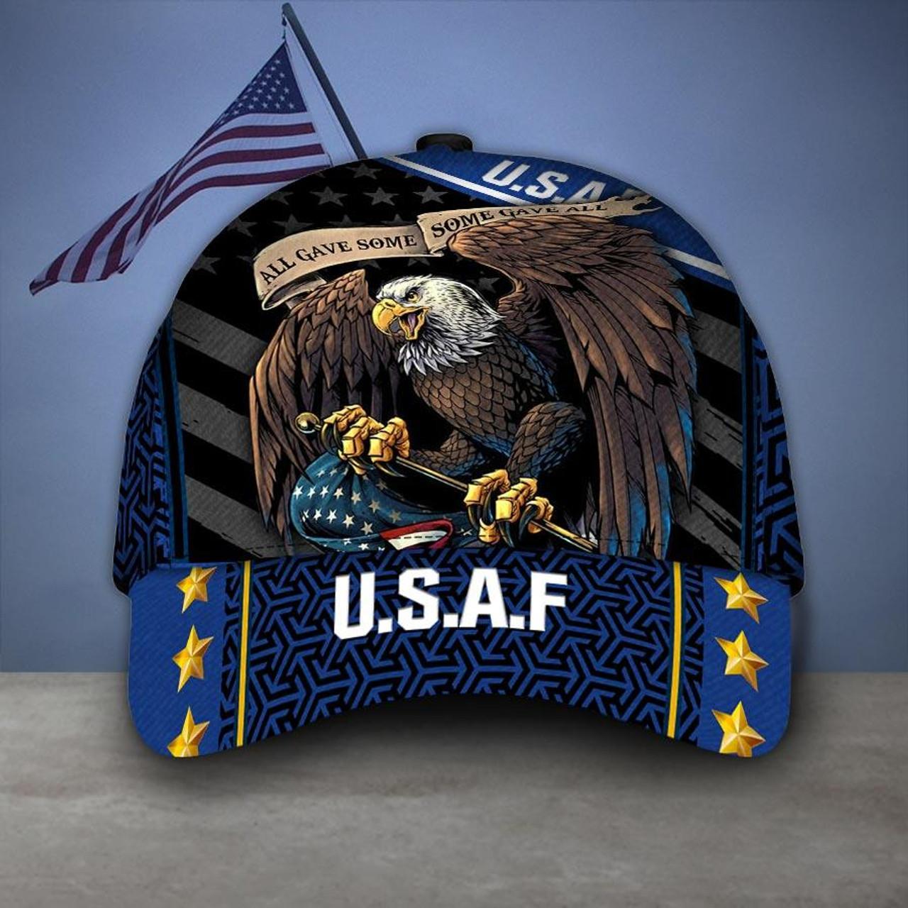 **(OFFICIAL-U.S.AIR-FORCE-VETERANS-HATS/CUSTOM-3D-GRAPHIC-PRINTED-PATRIOTIC-BIG-WINGED-BALD-EAGLE-DESIGN)**