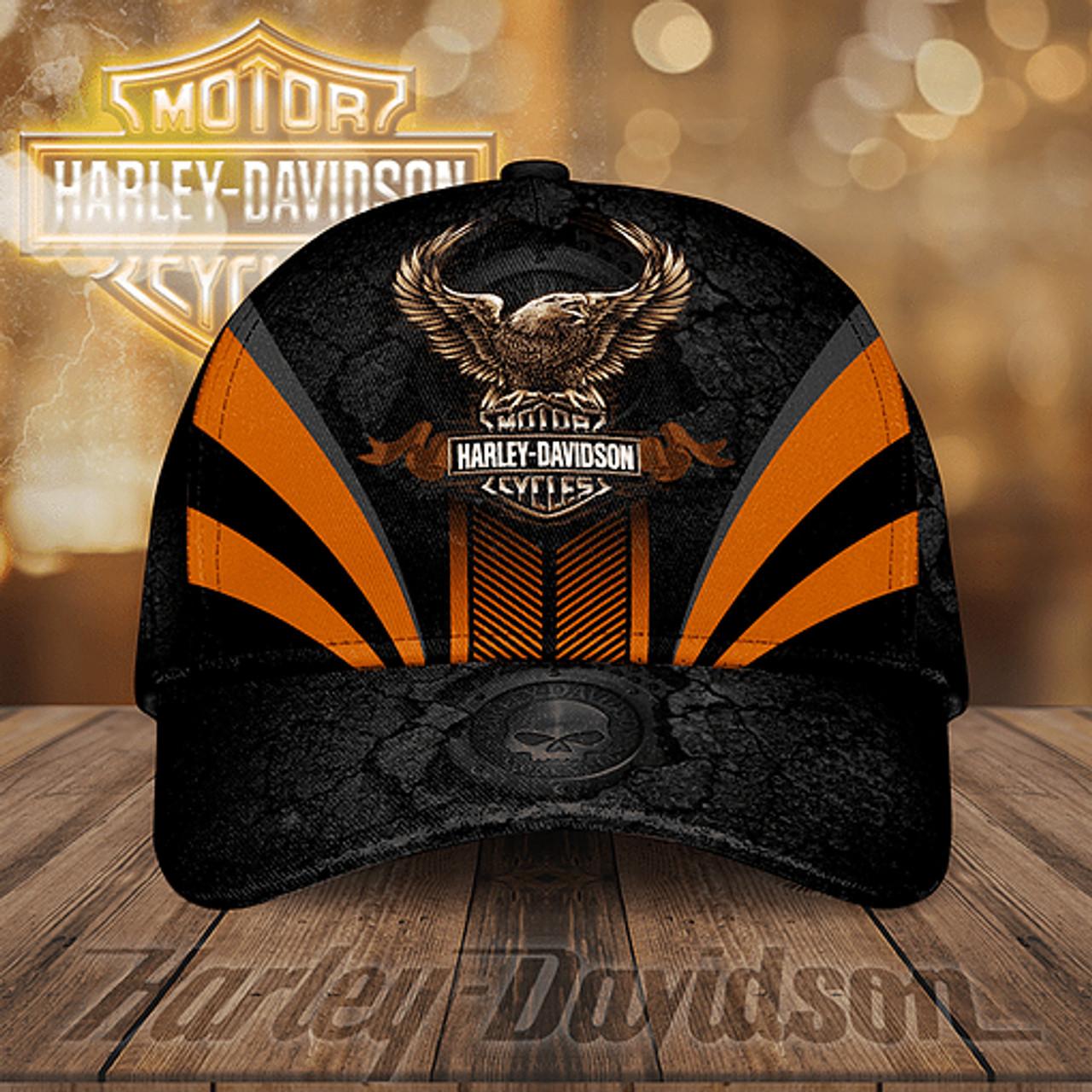**(OFFICIAL-HARLEY-DAVIDSON-MOTORCYCLE-BIKER-HATS/CUSTOM-GRAPHIC-3D-PRINTED-HARLEY-EAGLE-DESIGN)**