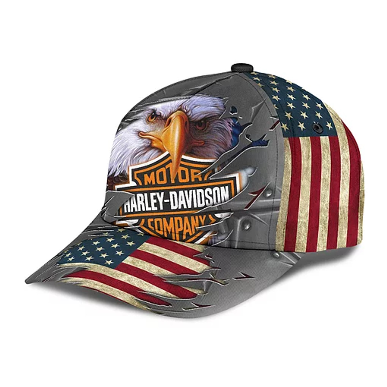 **(OFFICIAL-HARLEY-DAVIDSON-MOTORCYCLE-BIKER-HATS/CUSTOMIZED-GRAPHIC-3D-PRINTED-HARLEY-EAGLE-DESIGN)**