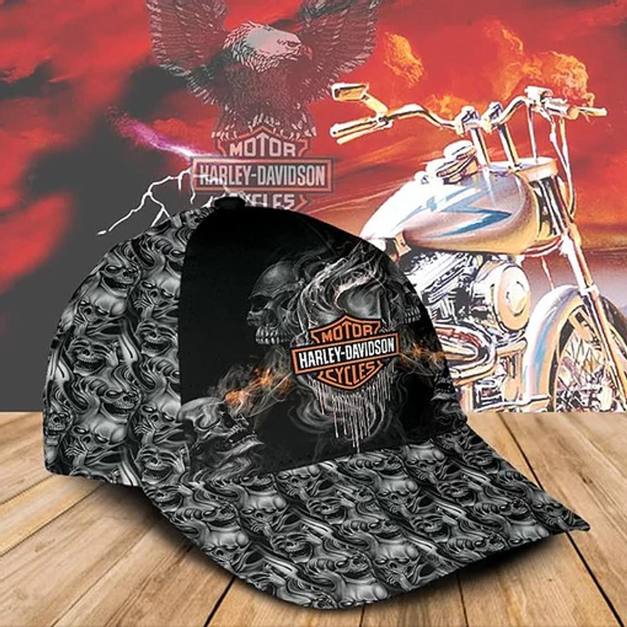 **(OFFICIAL-HARLEY-DAVIDSON-MOTORCYCLE-BIKER-CAPS/CUSTOM-GRAPHIC-3D-PRINTED-HARLEY-SKULLS-DESIGN)**