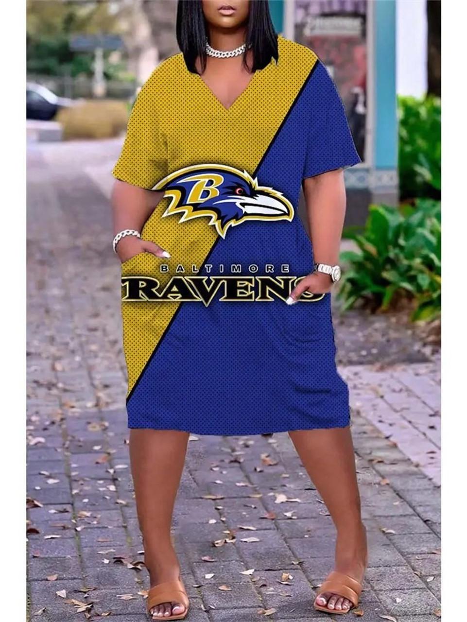 **(Official NFL.Baltimore-Ravens-Team Limited Edition Trendy V-Neck Casual Womens Knee Length Ravens Team Game/Day Sport Pocket Dress)**