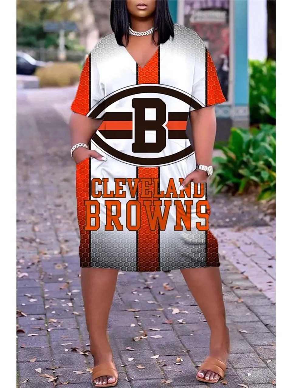 **(Official NFL.Cleveland-Browns-Team Limited Edition Trendy V-Neck Casual Womens Knee Length Pocket Browns Team Sporty Dress)**