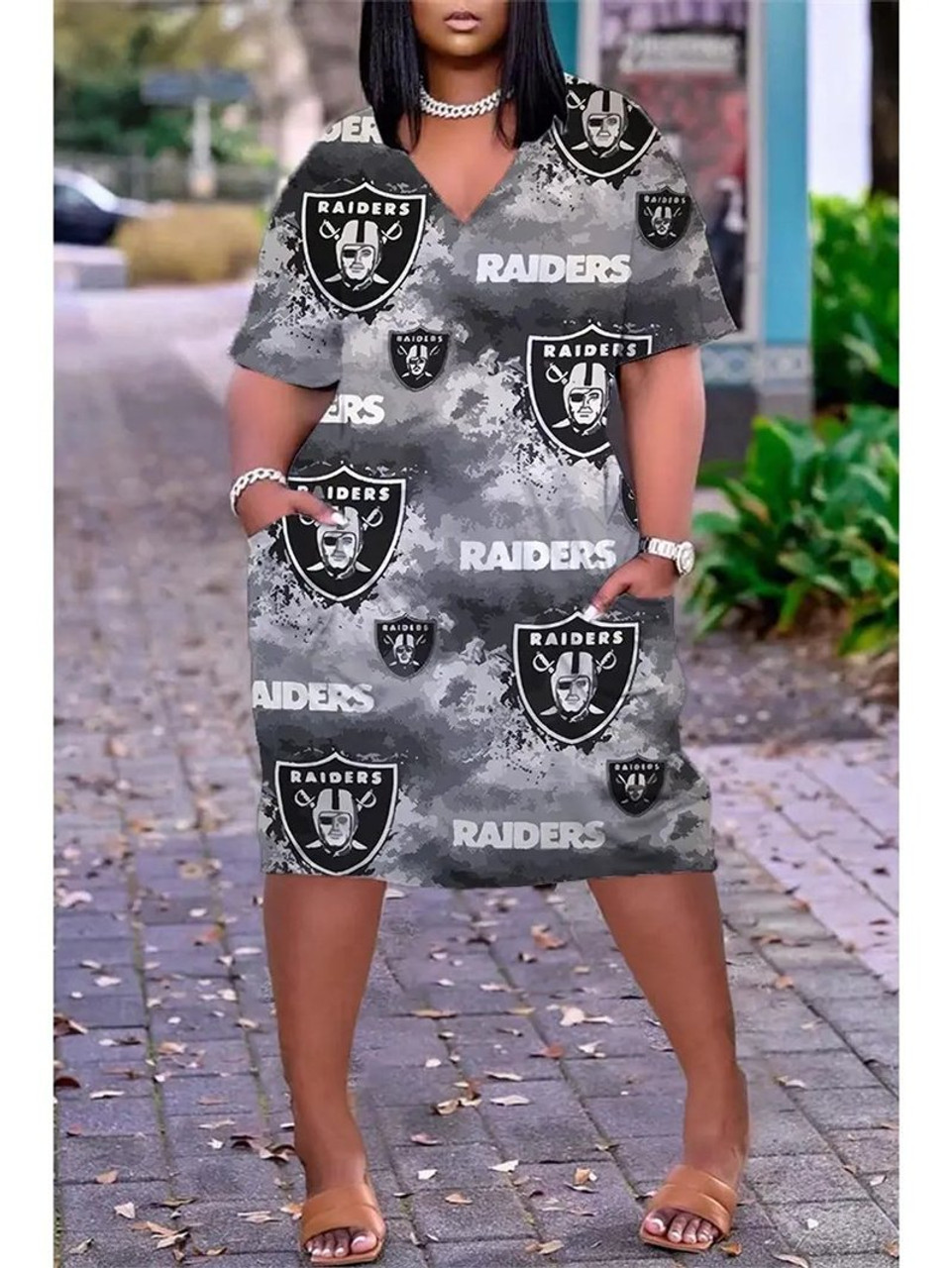 **(Official-NFL.Las-Vegas-Raiders-Team Limited Edition Trendy V-Neck Casual Womens Knee Length Game/Day Team Pocket Dress)**