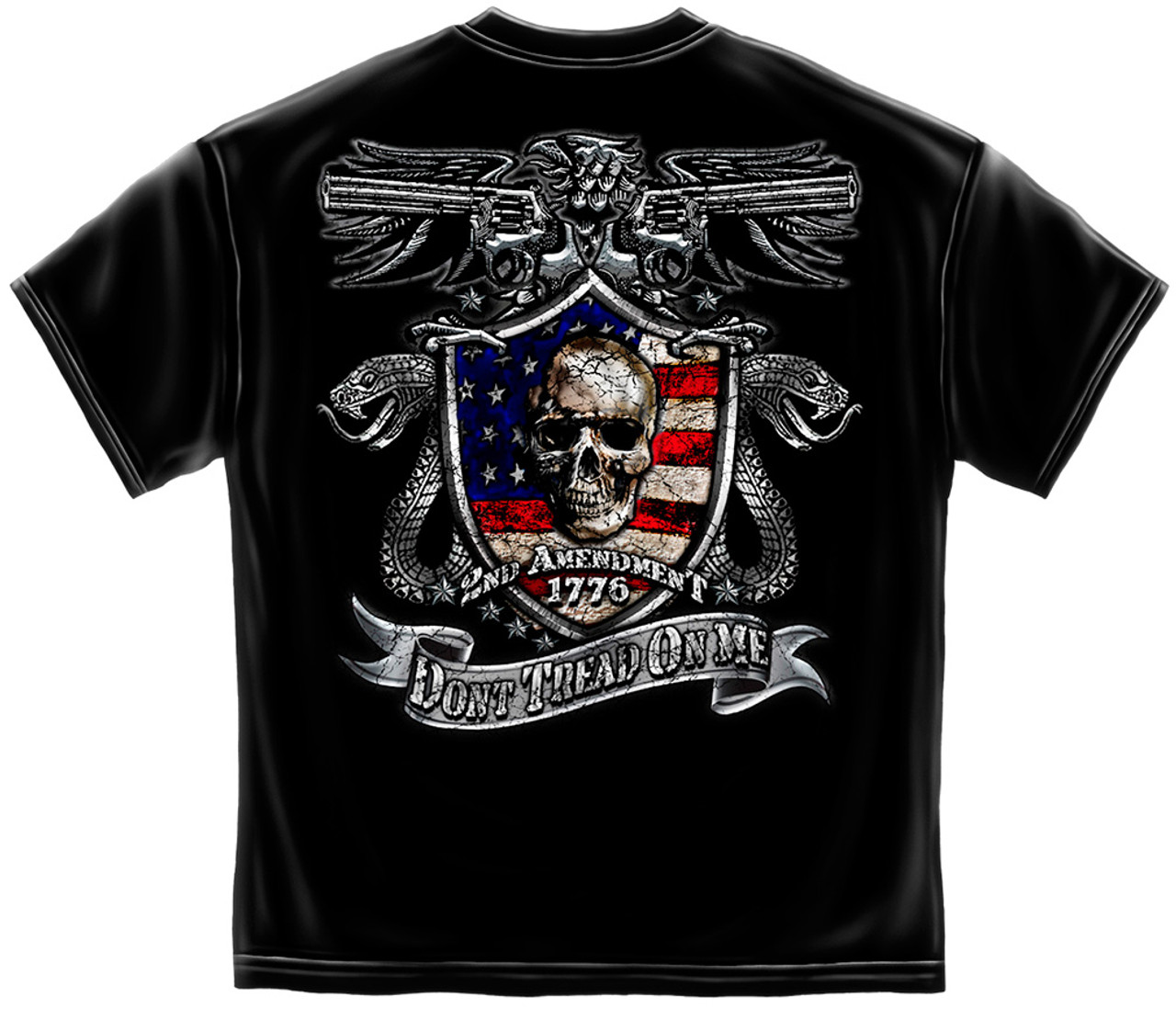 **(NEW-LICENSED-2ND-AMENDMENT-1776 & DON'T-TREAD-ON-ME/DUAL-GUNS & SNAKES,NICE-CUSTOM-DETAILED-GRAPHIC-PRINTED/PREMIUM-DOUBLE-SIDED-TEES)**