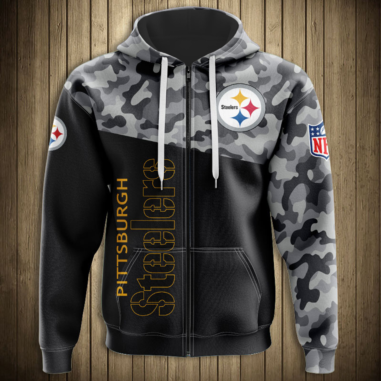 wholesale dealer a0da8 32bb6 **(OFFICIAL-N.F.L.PITTSBURGH-STEELERS-CAMO.DESIGN-ZIPPERED-HOODIES/3D-CUSTOM-STEELERS-LOGOS  & OFFICIAL-STEELERS-TEAM-COLORS/DETAILED-3D-GRAPHIC-PRINTE...
