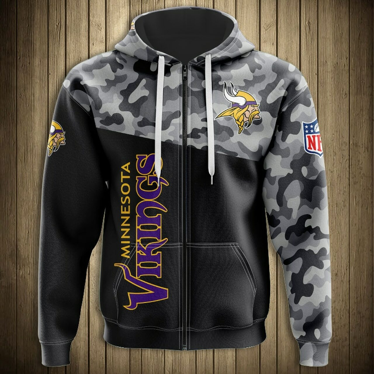 new product 21e16 27dc2 **(OFFICIAL-N.F.L.MINNESOTA-VIKINGS-CAMO.DESIGN-ZIPPERED-HOODIES/3D-CUSTOM-VIKINGS-LOGOS  & OFFICIAL-VIKINGS-TEAM-COLORS/DETAILED-3D-GRAPHIC-PRINTED-DO...
