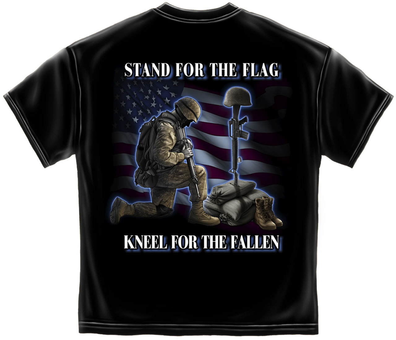 """**(NEW-OFFICIALLY-LICENSED,""""I STAND FOR THE FLAG & KNEEL FOR THE FALLEN"""",NICE-DETAILED-CUSTOM-GRAPHIC-PRINTED-PREMIUM-DOUBLE-SIDED-PATRIOT-TEES:)**"""
