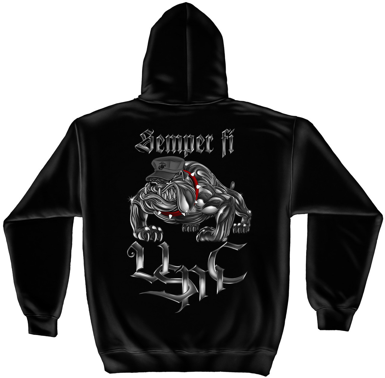 """**(NEW-OFFICIALLY-LICENSED,""""SEMPER-FI-MARINE-DEVIL-DOG/DRILL-DOG-MASCOT & U.S.M.C./SPECIAL-SCRIPT-LETTERING,NICE-DETAILED-CUSTOM-GRAPHIC-PRINTED/PREMIUM-DOUBLE-SIDED-PULLOVER-WARM-FLEECE-HOODIES:)**"""