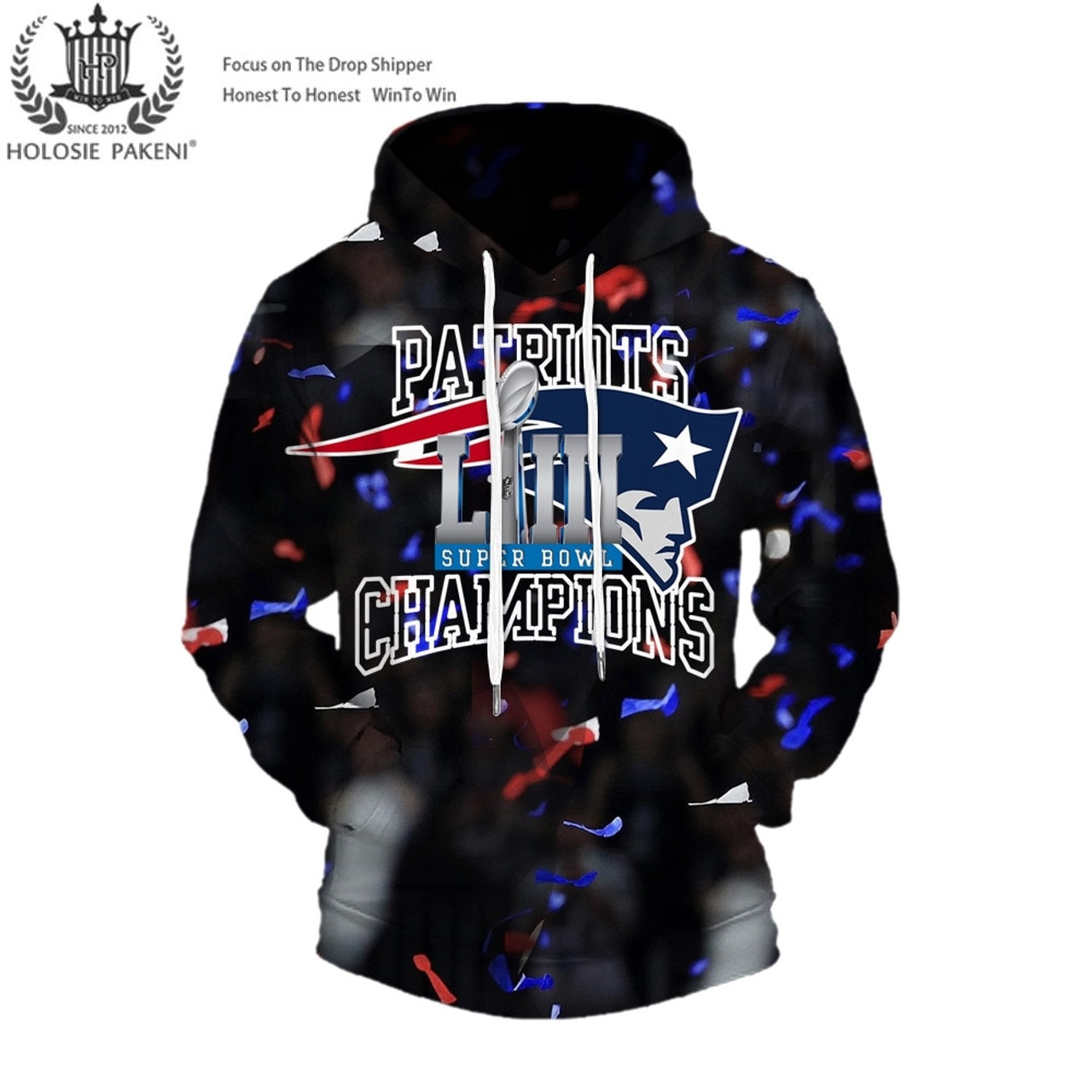 reputable site a8508 64ad2 **(OFFICIAL-N.F.L.NEW-ENGLAND-PATRIOTS-SUPER-BOWL-LIII-CHAMPIONS-CUSTOM-PREMIUM-PULLOVER-HOODIES/SIX-TIMES-SUPER-BOWL-CHAMPION-WINNERS/NEW-CUSTOM-3D-G...