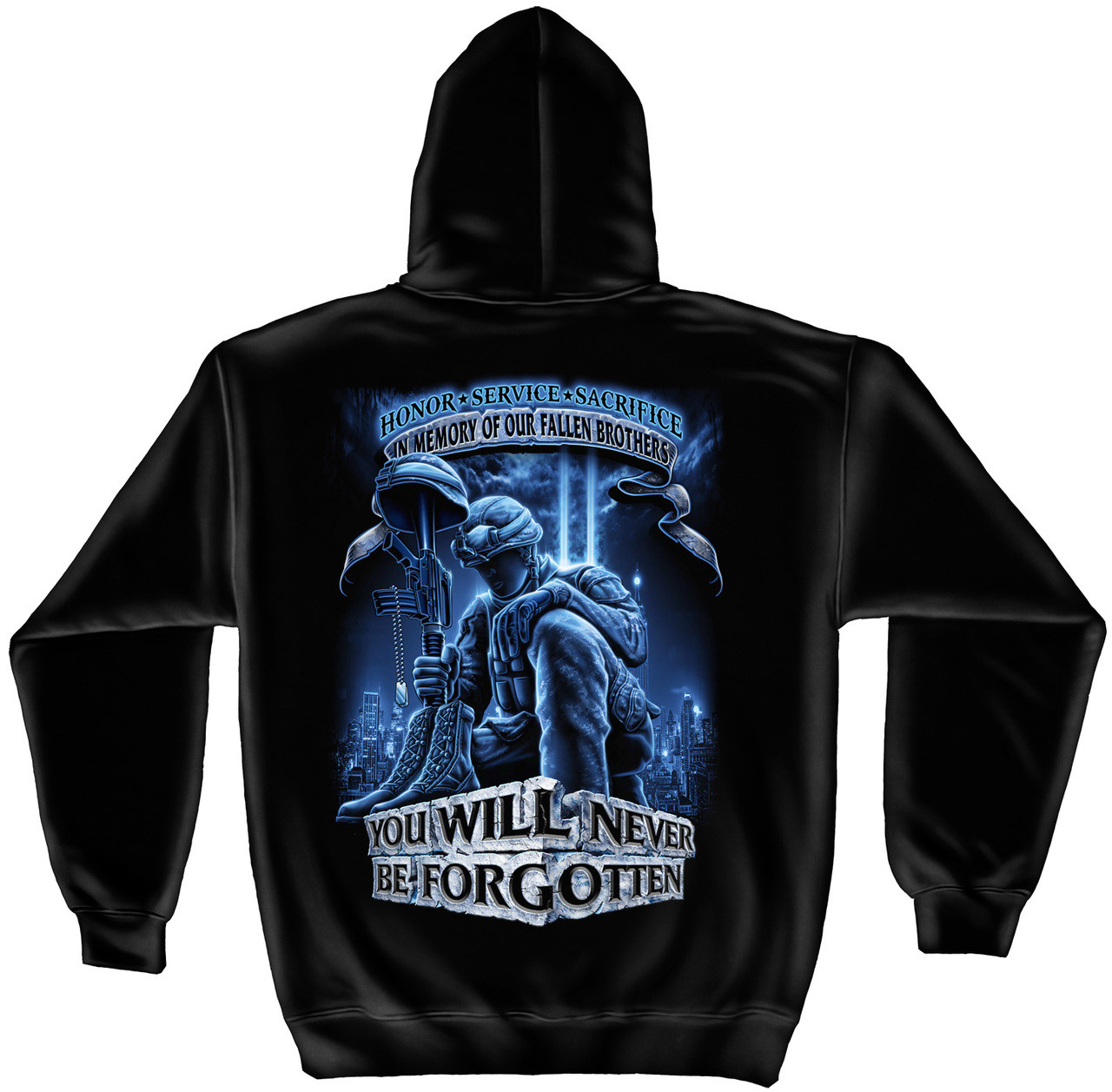 """**(NEW-OFFICIALLY-LICENSED-U.S.MILITARY-VETERANS,""""YOU-WILL-NEVER-BE-FORGOTTEN/IN-MEMORY-OF-OUR-FALLEN-BROTHERS"""",NICE-CUSTOM-DETAILED-GRAPHIC-PRINTED/PREMIUM-DOUBLE-SIDED-WARM-FLEECE-HOODIES:)**"""