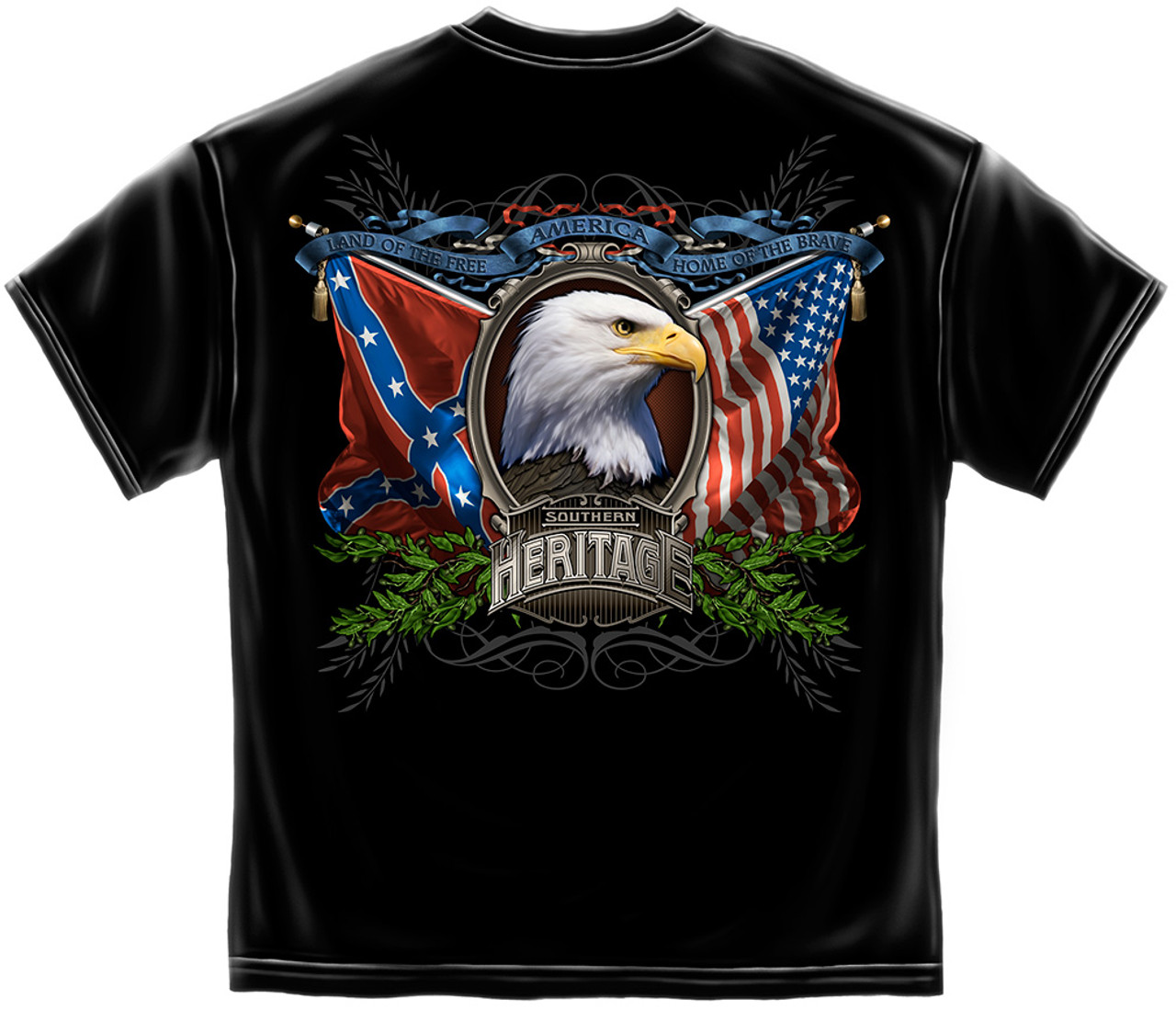 (TRENDY-NEW-SOUTHERN-HERITAGE & LAND-OF-THE-FREE,NICE-PREMIUM-GRAPHIC-PRINTED-PREMIUM-DOUBLE-SIDED-TEES:)