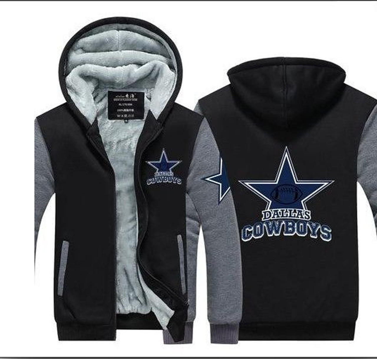 huge discount 2bab8 1cb32 **(COWBOYS/NEW-OFFICIALLY-LICENSED-N.F.L.  DALLAS-COWBOYS/NEW-TWO-TONE-STYLE,FLEECE-LINED-TEAM-JACKETS/3-D-CUSTOM-DETAILED-GRAPHIC-PRINTED-DOUBLE-SIDED...