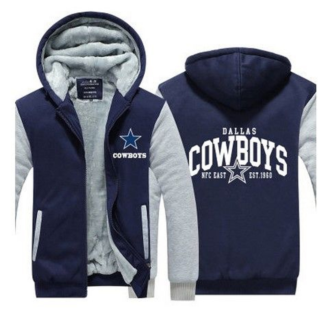 **(LIMITED-EDITION>OFFICIAL-N.F.L. DALLAS-COWBOYS/NEW-TWO-TONE-STYLE,FLEECE-LINED-TEAM-JACKETS/3-D-CUSTOM-DETAILED-GRAPHIC-PRINTED-DOUBLE-SIDED-LOGOS/OFFICIAL-TEAM-COLOR-POCKETED-ZIP-UP,WARM-PREMIUM-FLEECE-JACKETS)**