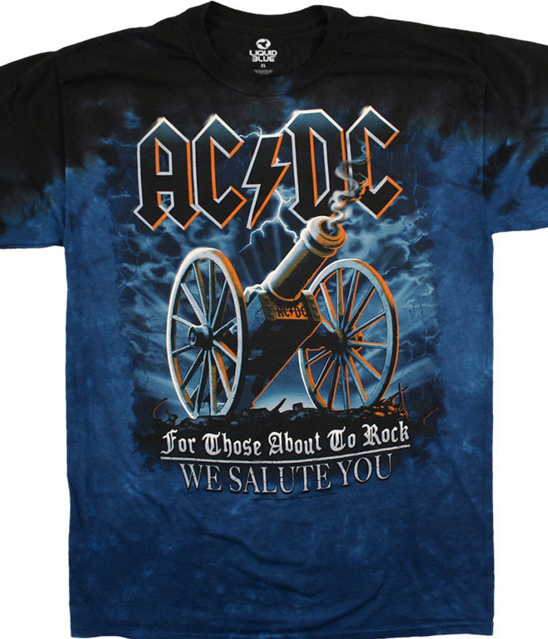 """Officially Licensed AC/DC Graphic T-Shirt, Tee, Tie-Dye designed, dyed and printed in the USA by Liquid Blue. For Those About to Rock was a top hit for rock gods AC/DC. It has also become an anthem for many sporting venues throughout the world. This AC/DC 100% cotton tie-dye t-shirt uses the cover image from the bands seventh studio album and weaves it seamlessly into a stunning tie-dye background that you'll be wishing you had on when you """"...load up your cannon. For a twenty one gun salute"""" and """"...Fire"""""""