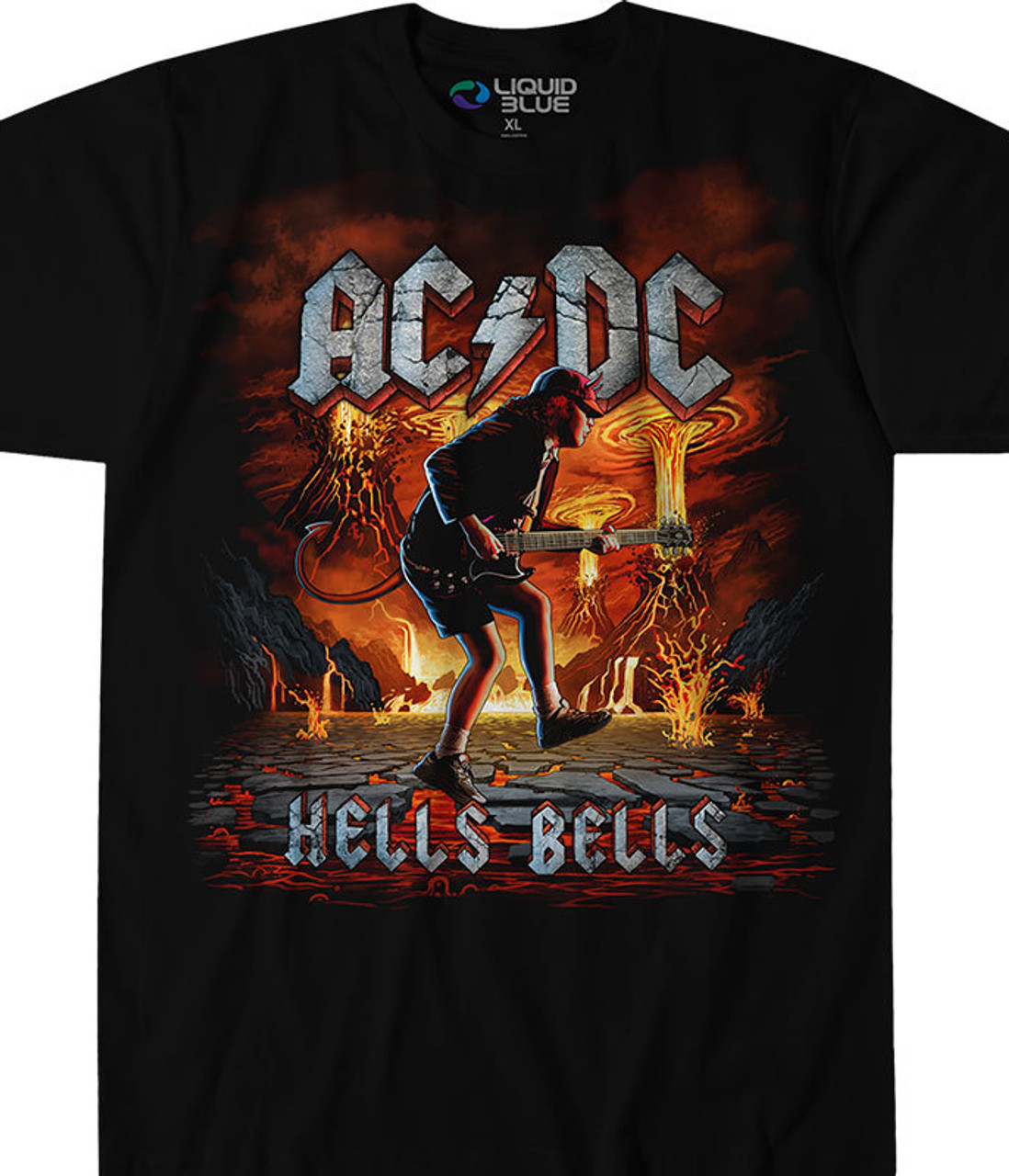 Officially Licensed AC/DC Graphic T-Shirt, Tee, Tie-Dye designed, dyed and printed in the USA by Liquid Blue. Enjoy another stunning piece of artwork from Liquid Blue with this AC/DC t-shirt showing another interpretation of the band's hit song Hells Bells.