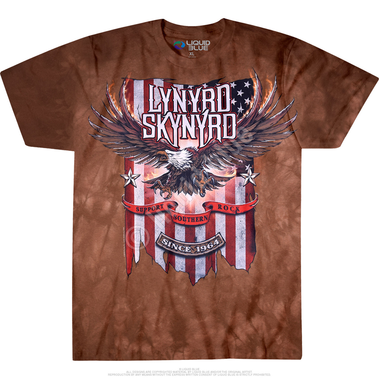 **(OFFICIALLY-LICENSED-LYNYRD-SKYNYRD/PATRIOTIC-FLAG & SKYNYRD-FLYING-FREE-BIRD/SUPPORT-SOUTHERN-ROCK,SINCE-1964/NICE-DETAILED-CUSTOM-GRAPHIC-PRINTED/PREMIUM-CONCERT-TYE-DYED-TEE-SHIRTS)**