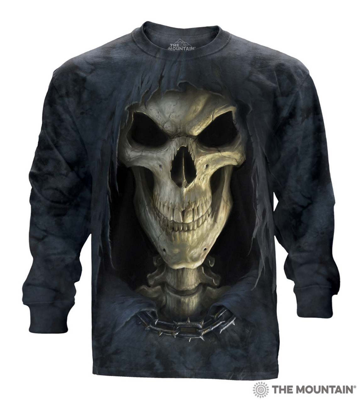 **(NEW-OFFICIAL-LICENSED/THE-MOUNTIAN-BRAND & DESIGN/HOODED-GRIM-REAPER & GRUESOME-SKULL,FACE-OF-DEATH-TEE/BEAUTIFULLY-DETAILED-CUSTOM-GRAPHIC-PRINTED/PREMIUM-LONG-SLEEVE-TEES)**